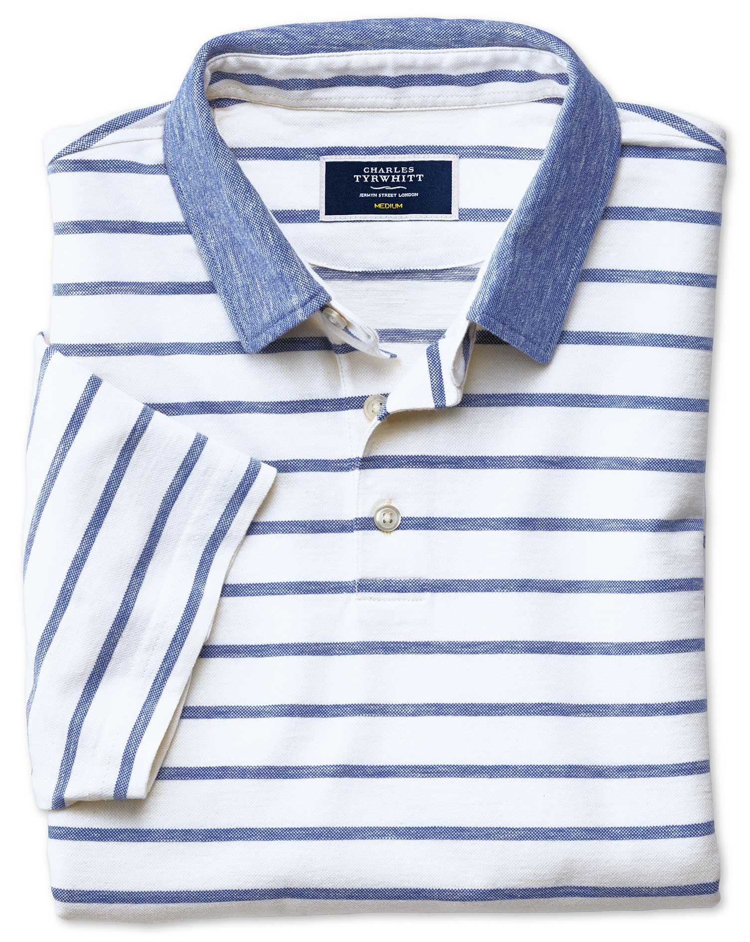 Navy and White Stripe Cotton Linen Polo Size XXL by Charles Tyrwhitt