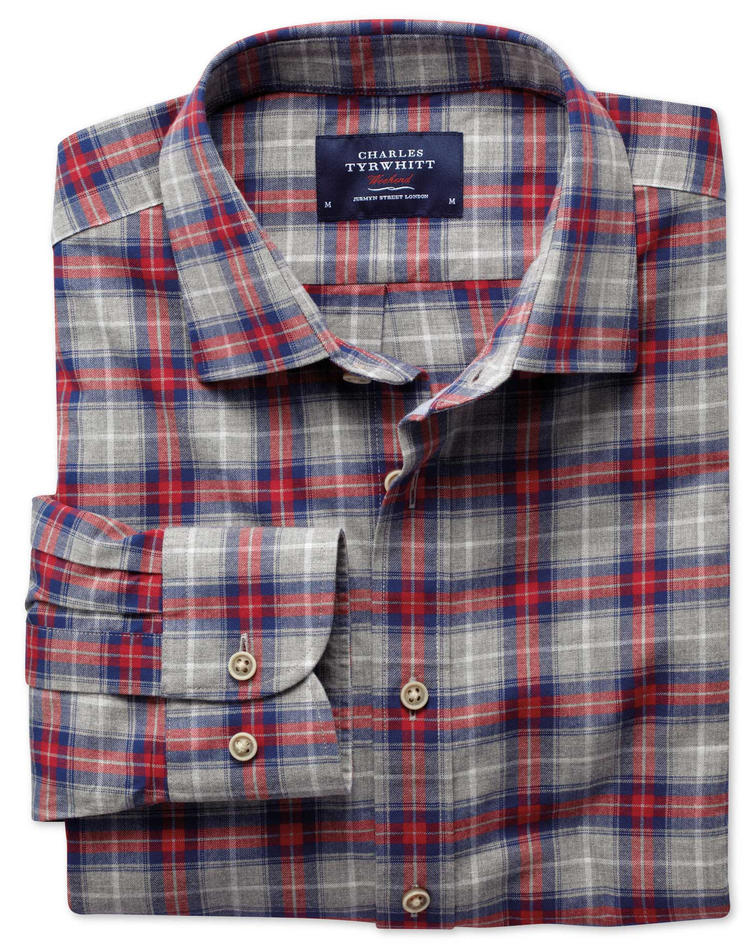 Classic Fit Red and Grey Check Heather Cotton Shirt Single Cuff Size Small by Charles Tyrwhitt