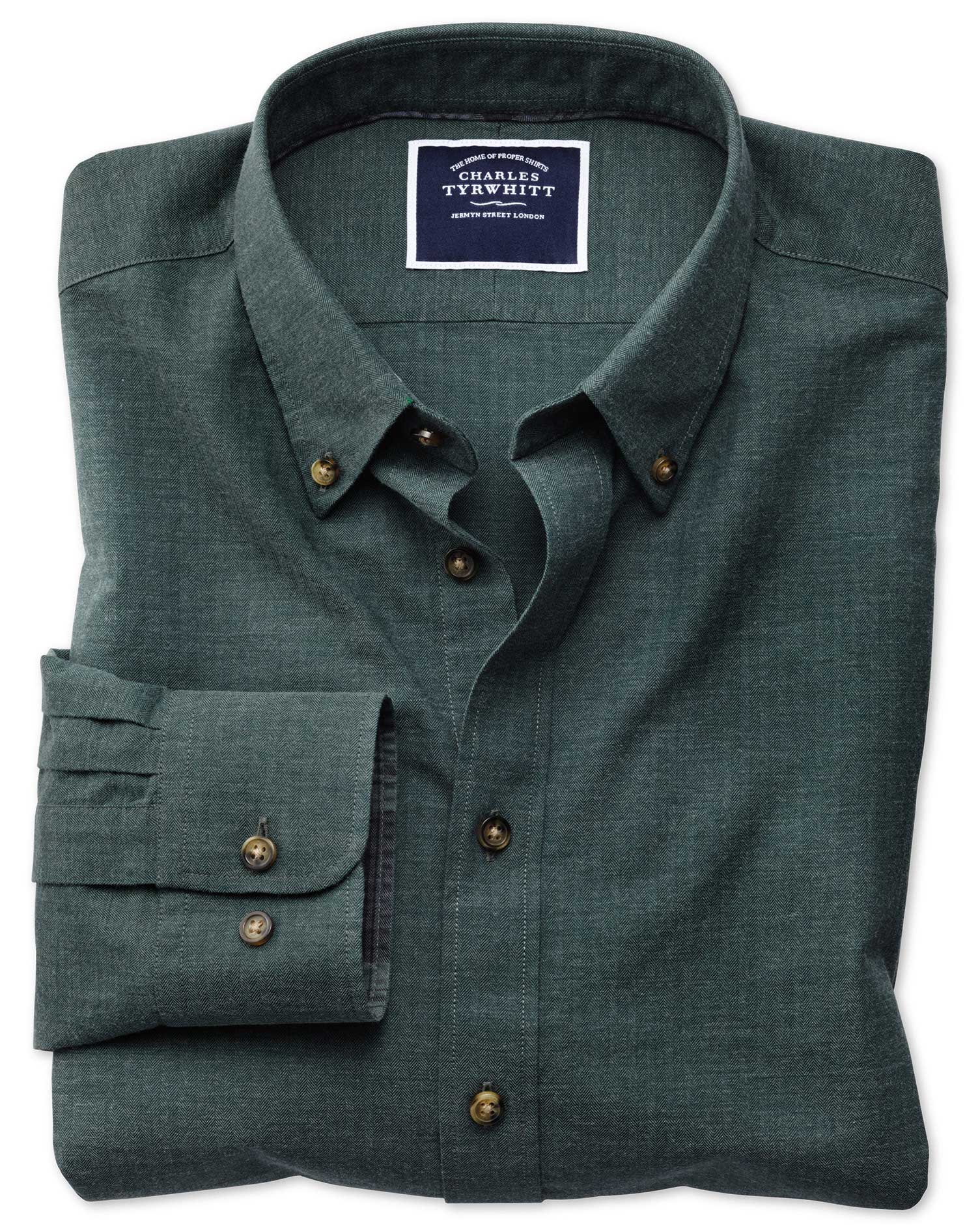 Extra Slim Fit Green Herringbone Melange Cotton Shirt Single Cuff Size Small by Charles Tyrwhitt