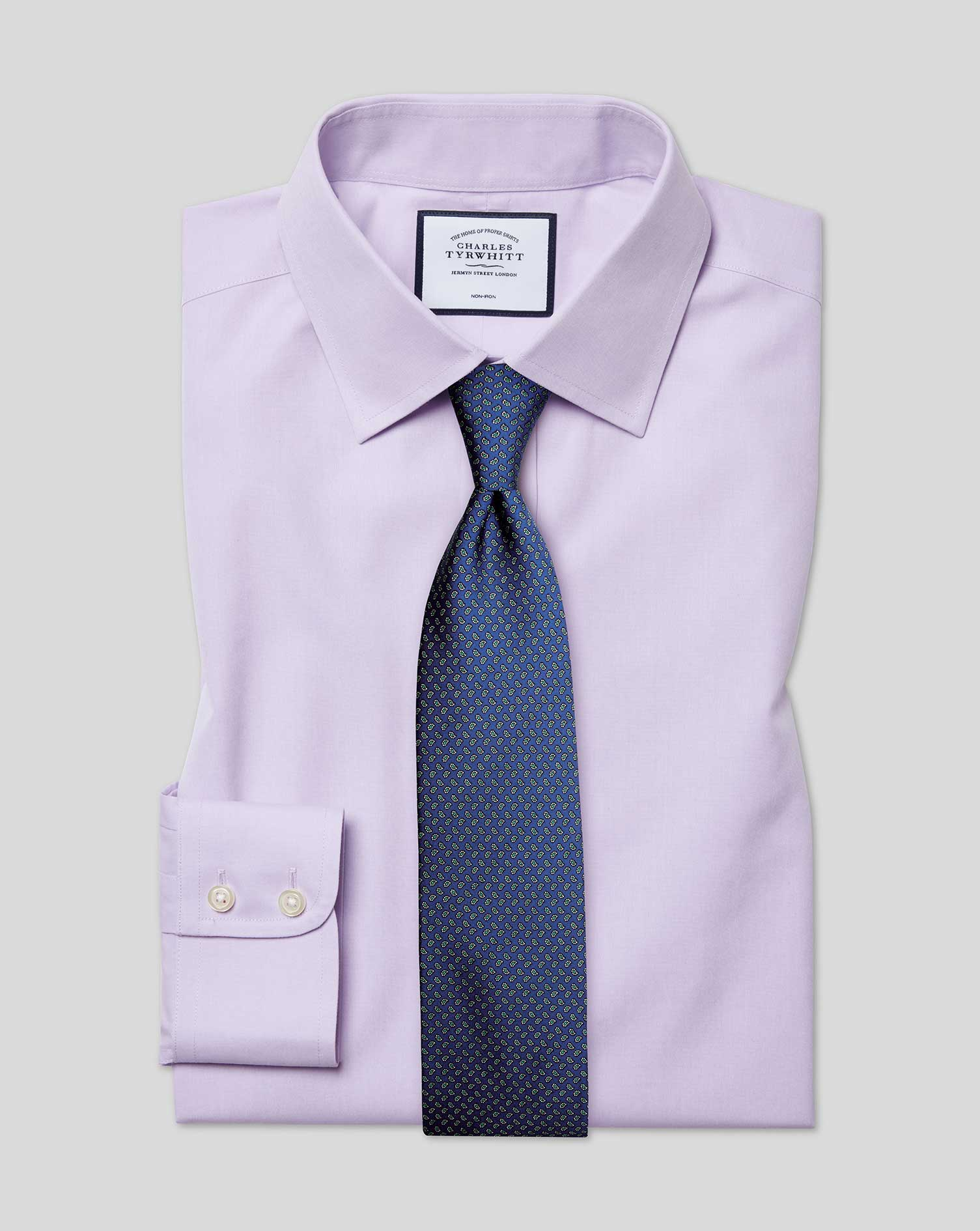 Classic Fit Non-Iron Poplin Lilac Cotton Formal Shirt Double Cuff Size 17.5/36 by Charles Tyrwhitt