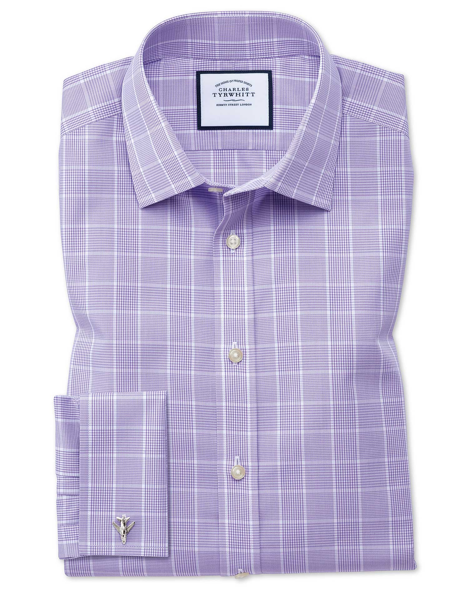 Classic Fit Non-Iron Prince Of Wales Lilac Cotton Formal Shirt Double Cuff Size 18/35 by Charles Tyr