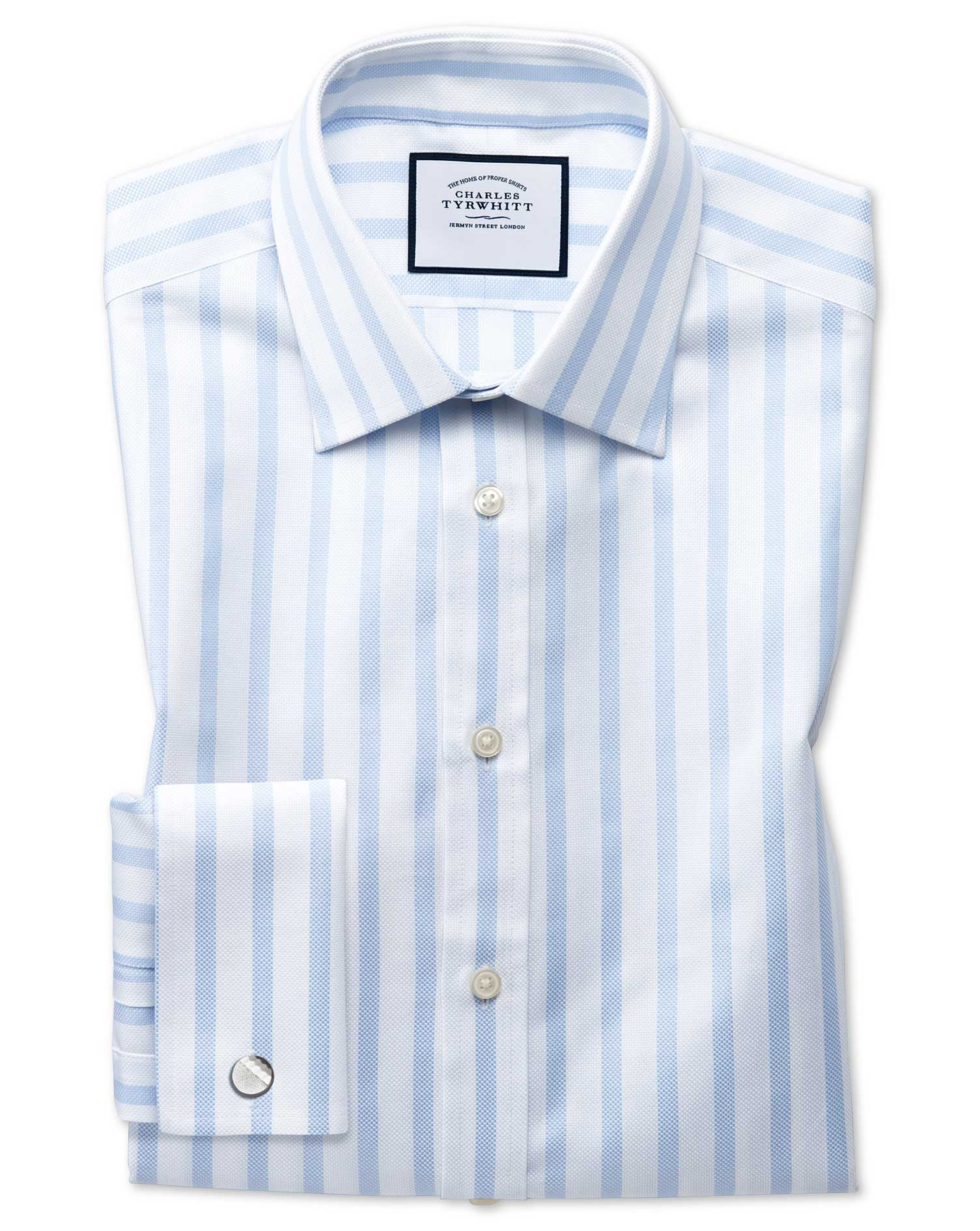 Slim Fit Egyptian Cotton Royal Oxford Sky Blue Stripe Formal Shirt Double Cuff Size 16/34 by Charles