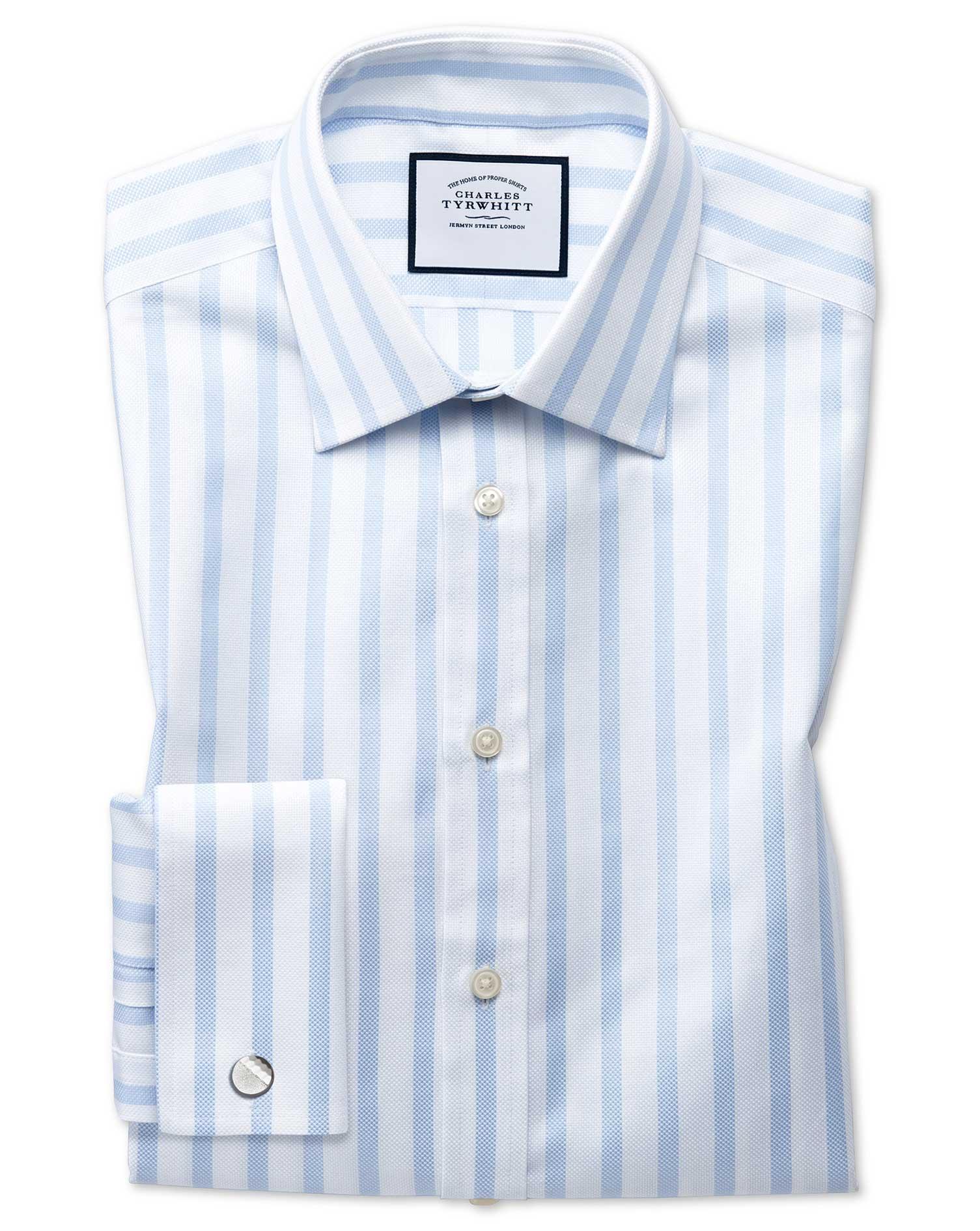 Slim Fit Egyptian Cotton Royal Oxford Sky Blue Stripe Formal Shirt Single Cuff Size 15.5/35 by Charl