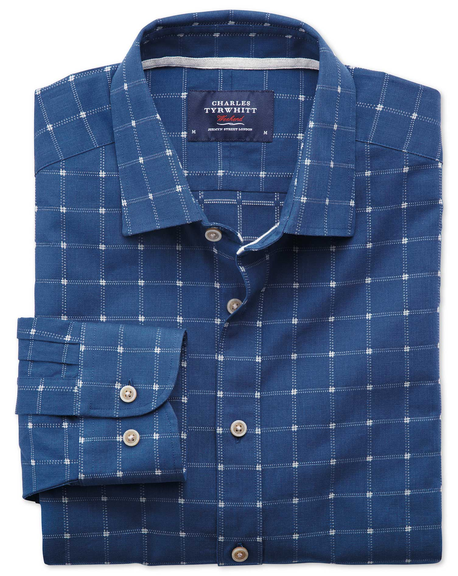 Extra slim fit dobby blue and white check textured shirt for Slim fit check shirt