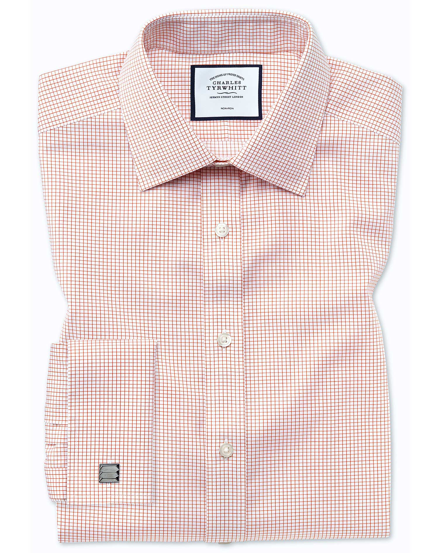 Classic Fit Non-Iron Twill Mini Grid Check Orange Cotton Formal Shirt Single Cuff Size 16/34 by Char