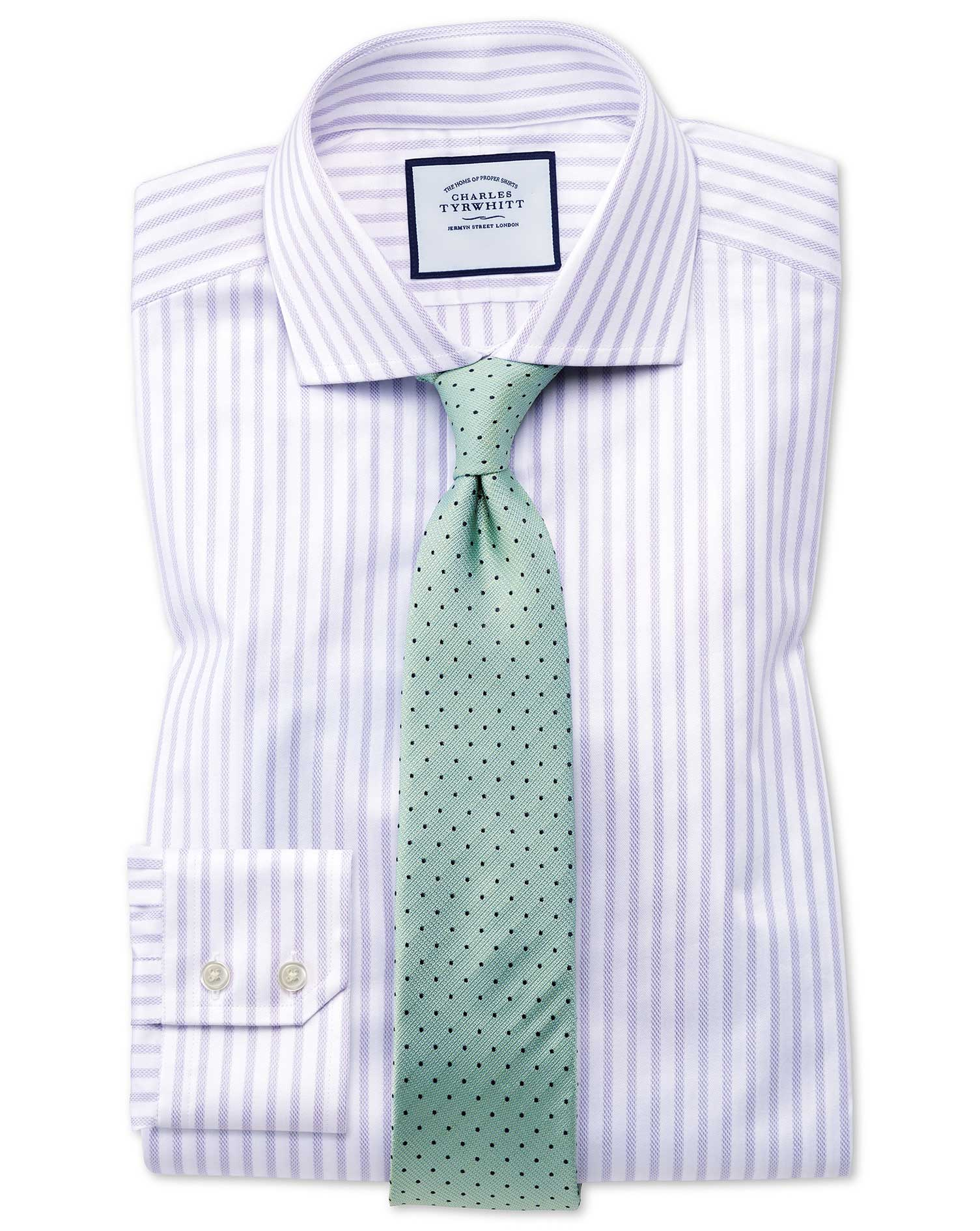Extra Slim Fit Cutaway Textured Stripe Lilac and White Cotton Formal Shirt Single Cuff Size 15.5/35