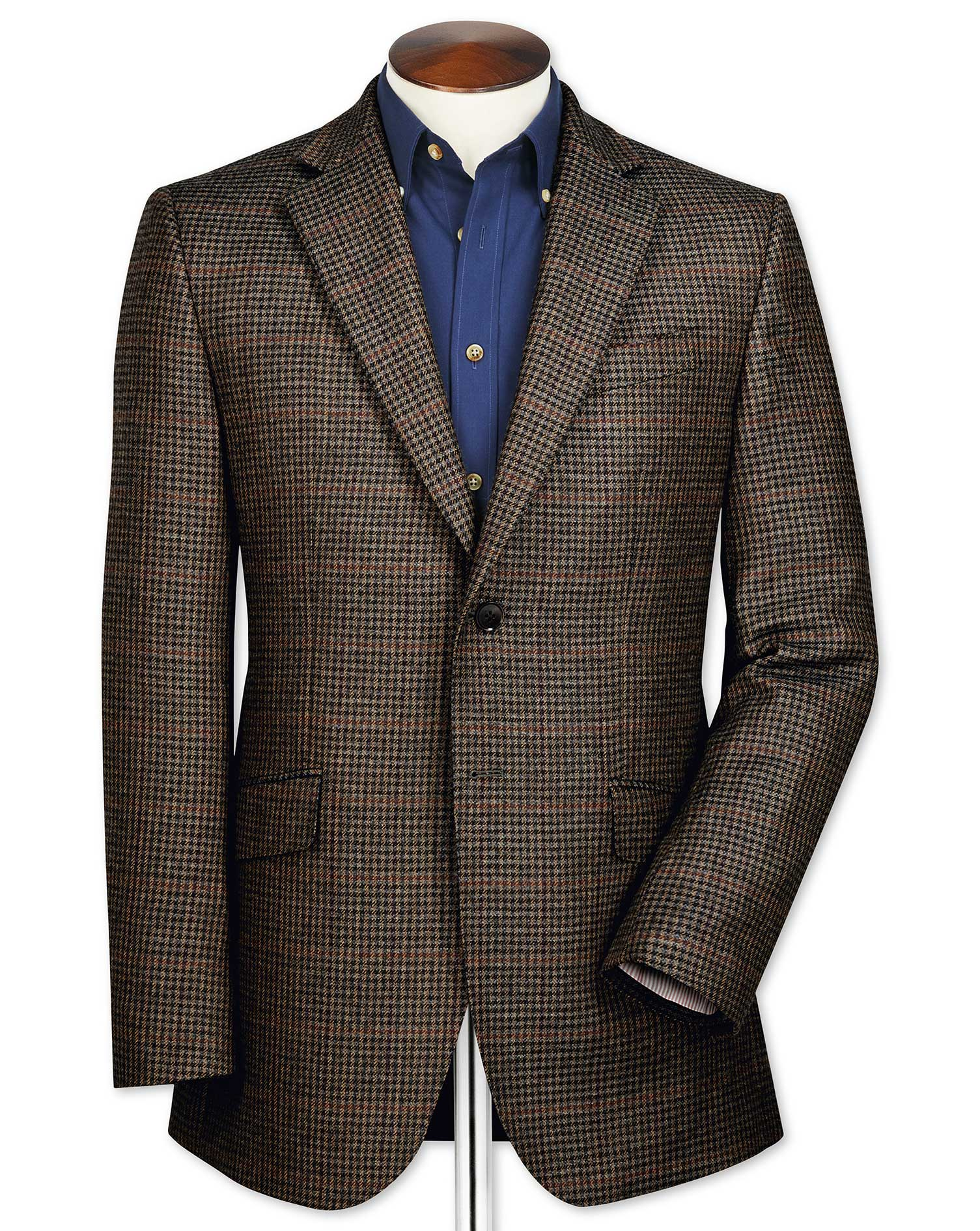 Slim Fit Brown Checkered Lambswool Wool Jacket Size 40 Long by Charles Tyrwhitt