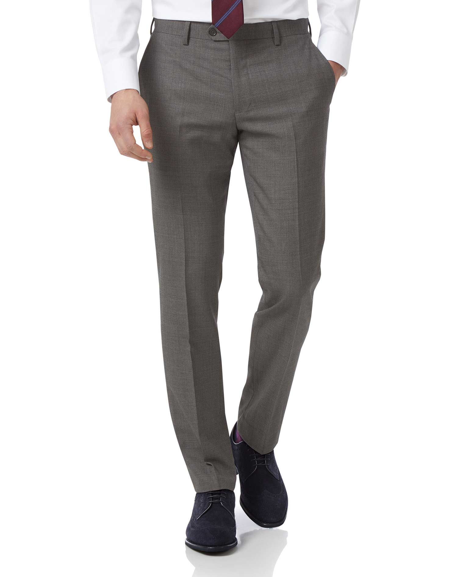 Grey Slim Jaspe Business Suit Trousers Size W34 L38 by Charles Tyrwhitt