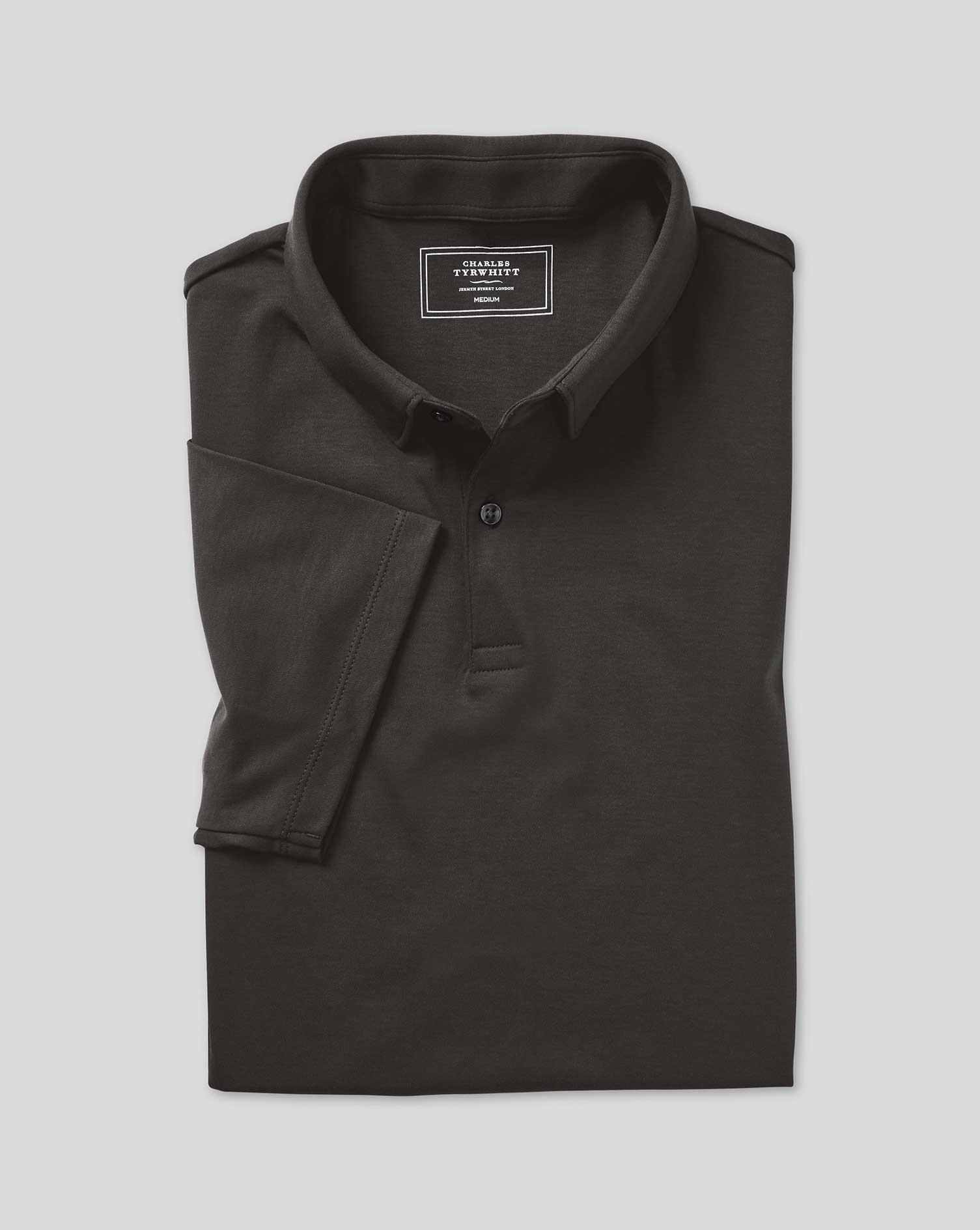 Polo Smart En Jersey - Anthracite - Charbon par Charles Tyrwhitt