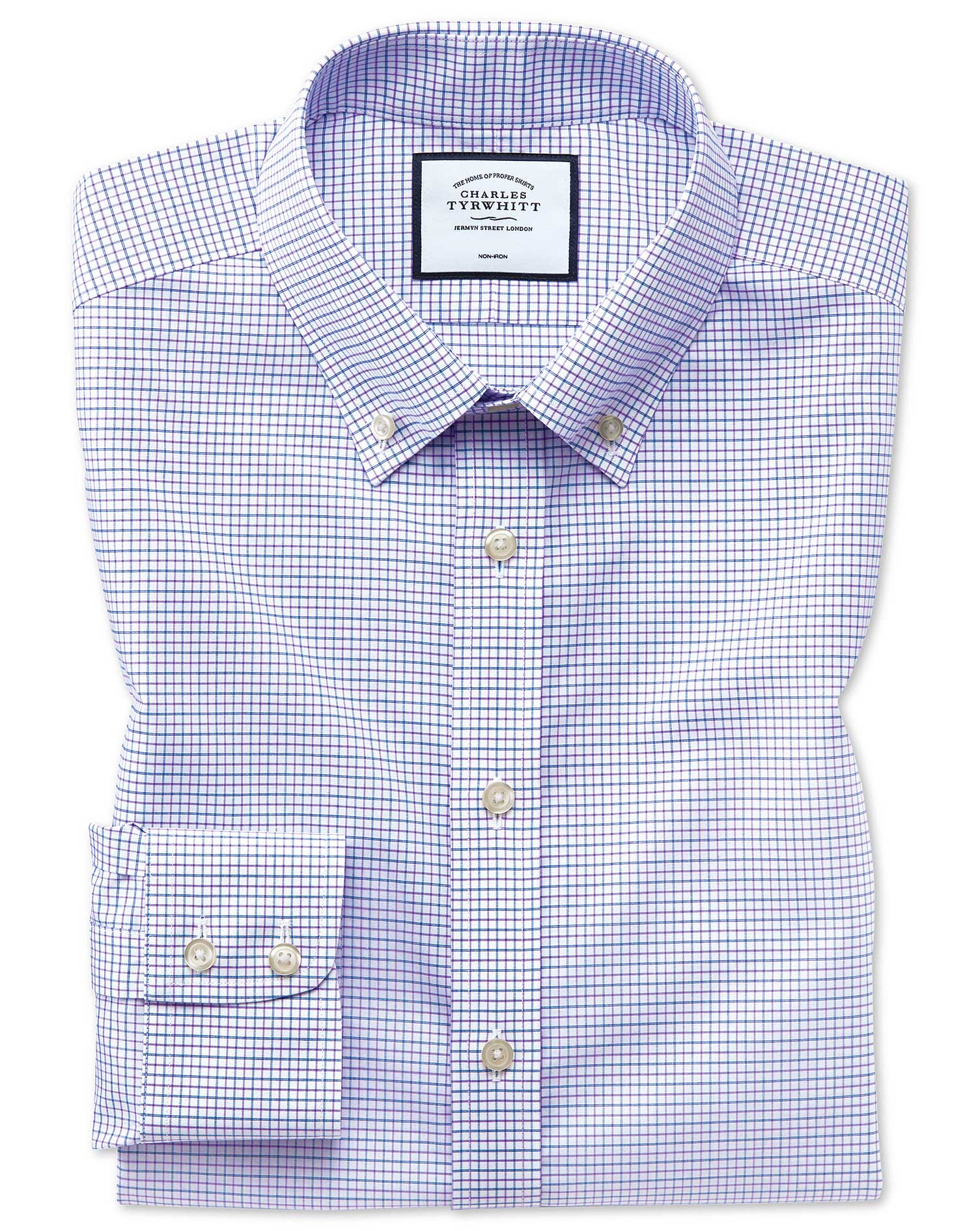 Classic Fit Non-Iron Button-Down Lilac and Blue Cotton Formal Shirt Single Cuff Size 16.5/33 by Char