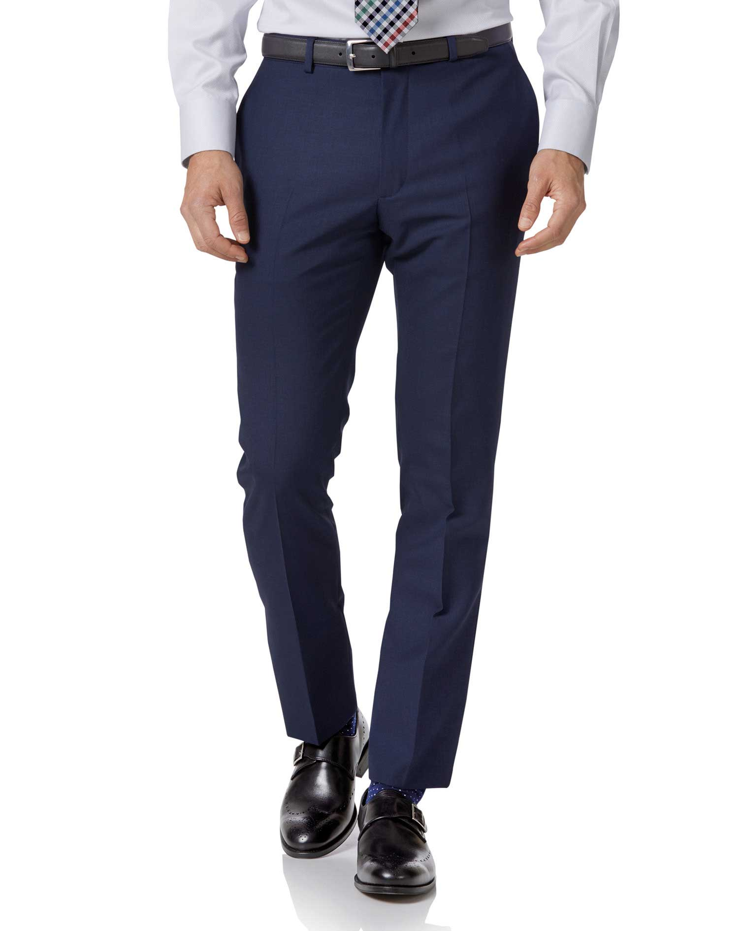 Royal blue extra slim fit merino business suit pants