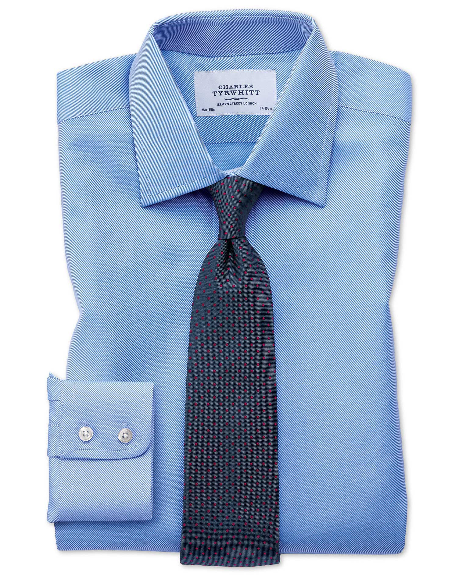 Extra slim fit egyptian cotton cavalry twill blue shirt for Slim fit cotton shirts