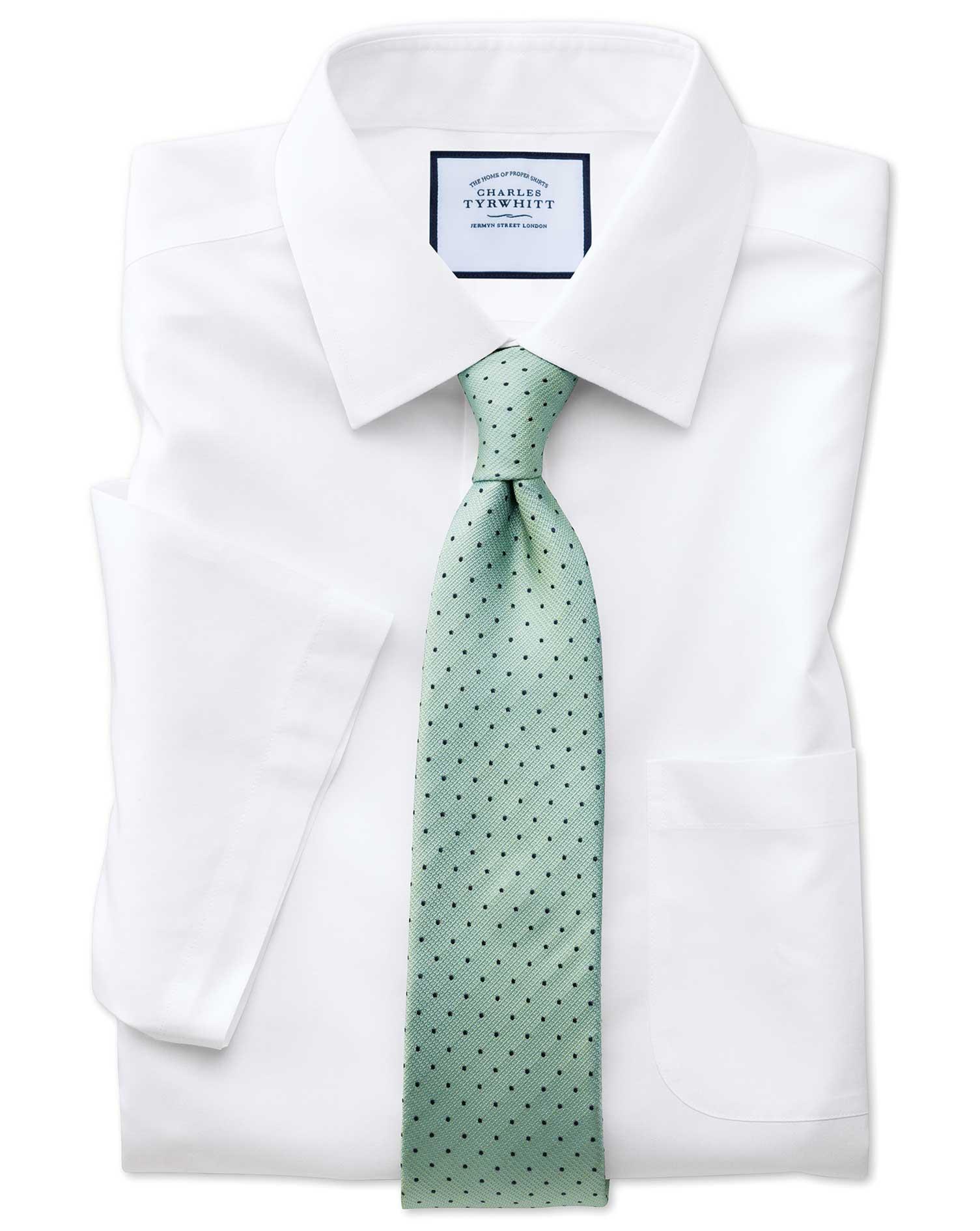 Slim fit non iron short sleeve white shirt charles tyrwhitt for Slim fit non iron shirts