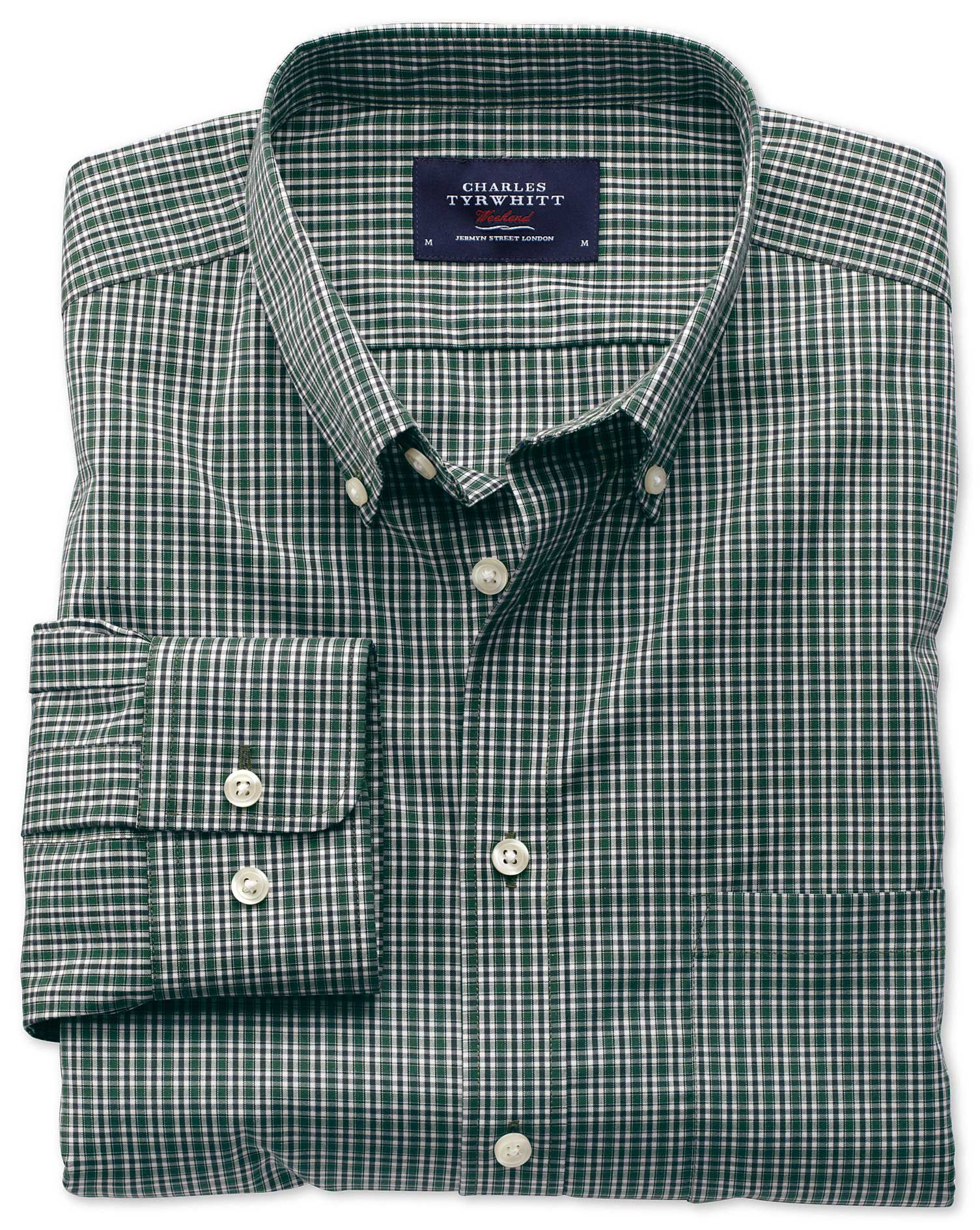 Extra Slim Fit Non-Iron Poplin Green and Blue Check Cotton Shirt Single Cuff Size XS by Charles Tyrw