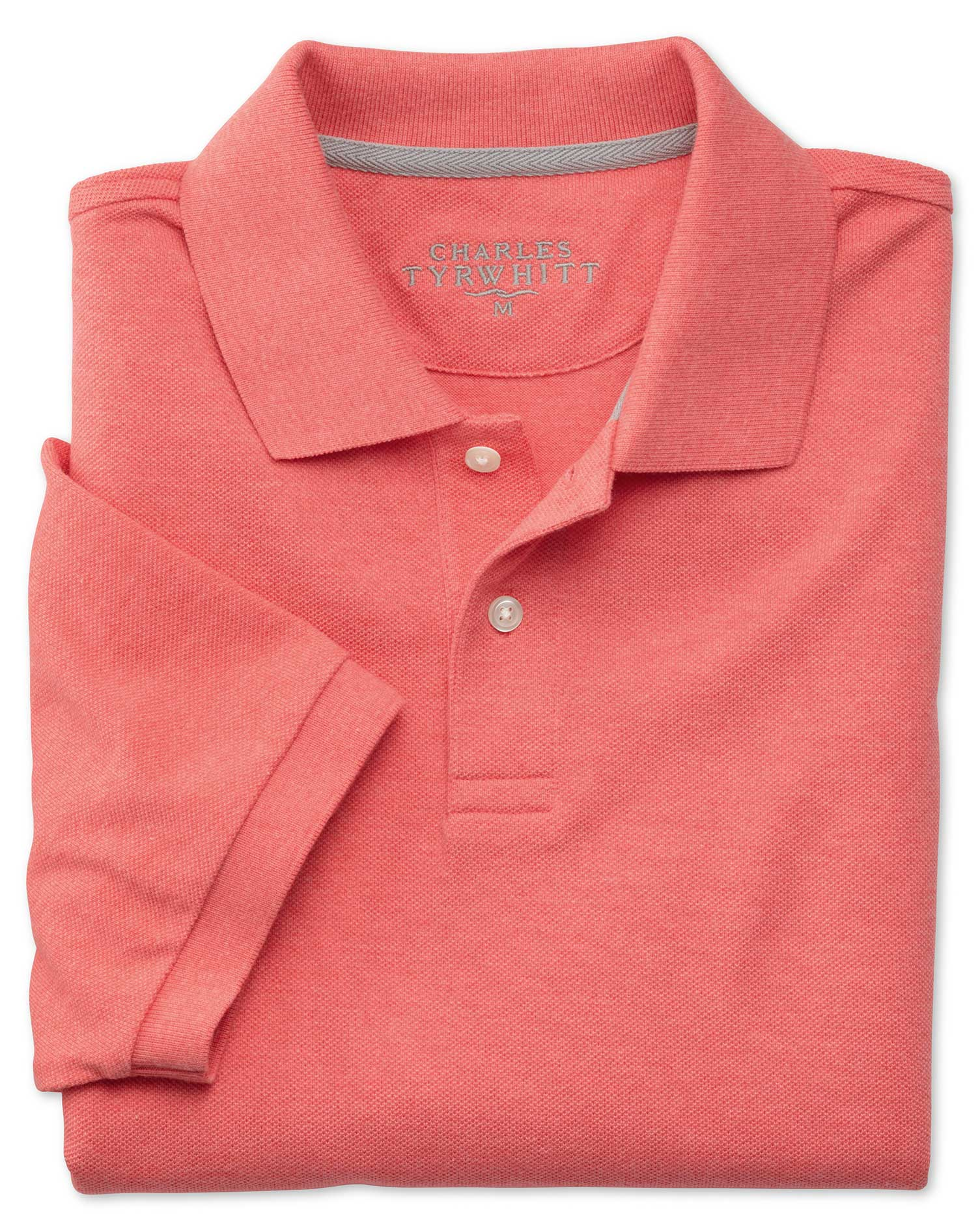 Coral Melange Pique Cotton Polo Size XXL by Charles Tyrwhitt
