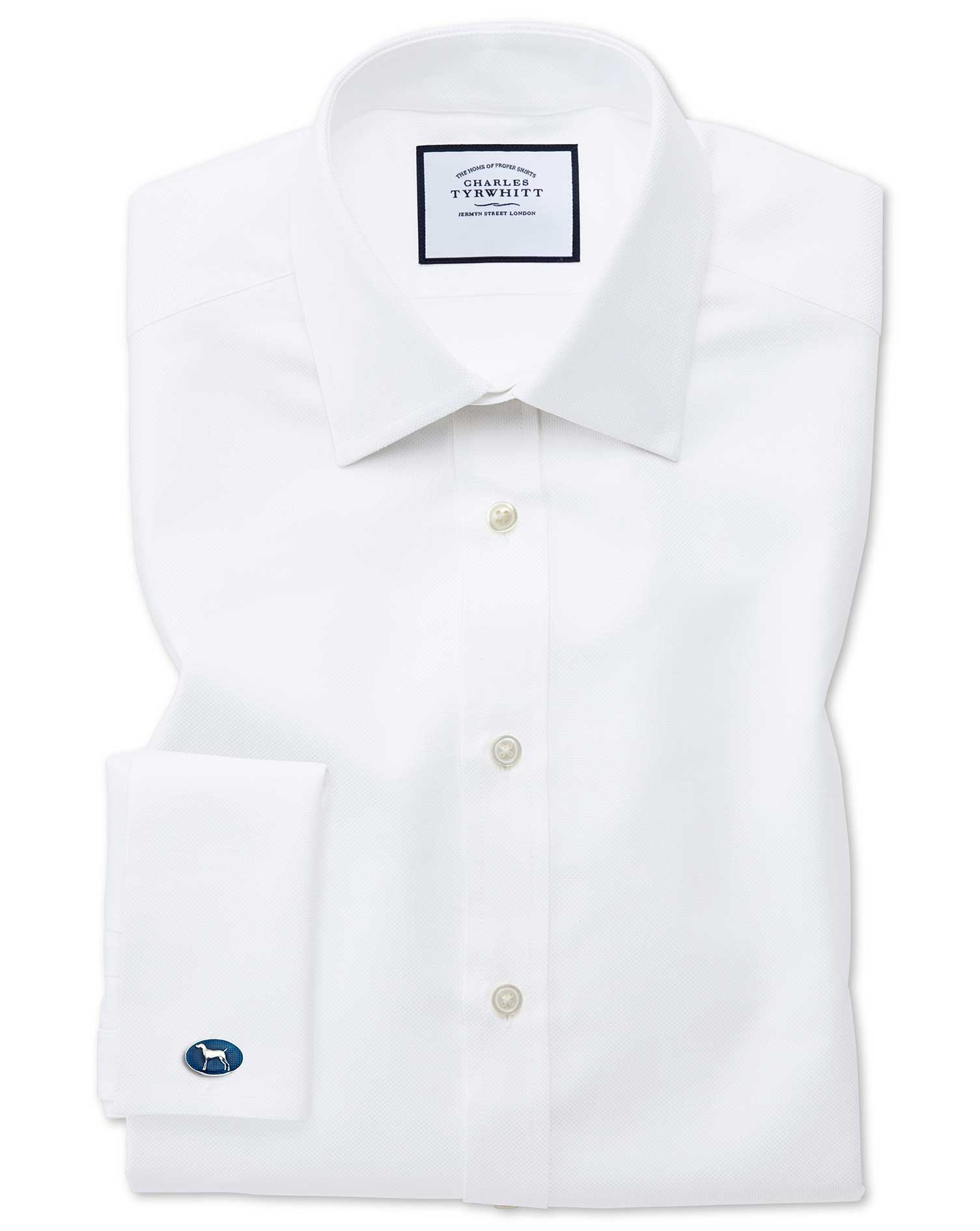 Slim Fit Egyptian Cotton Royal Oxford White Formal Shirt Single Cuff Size 17/37 by Charles Tyrwhitt