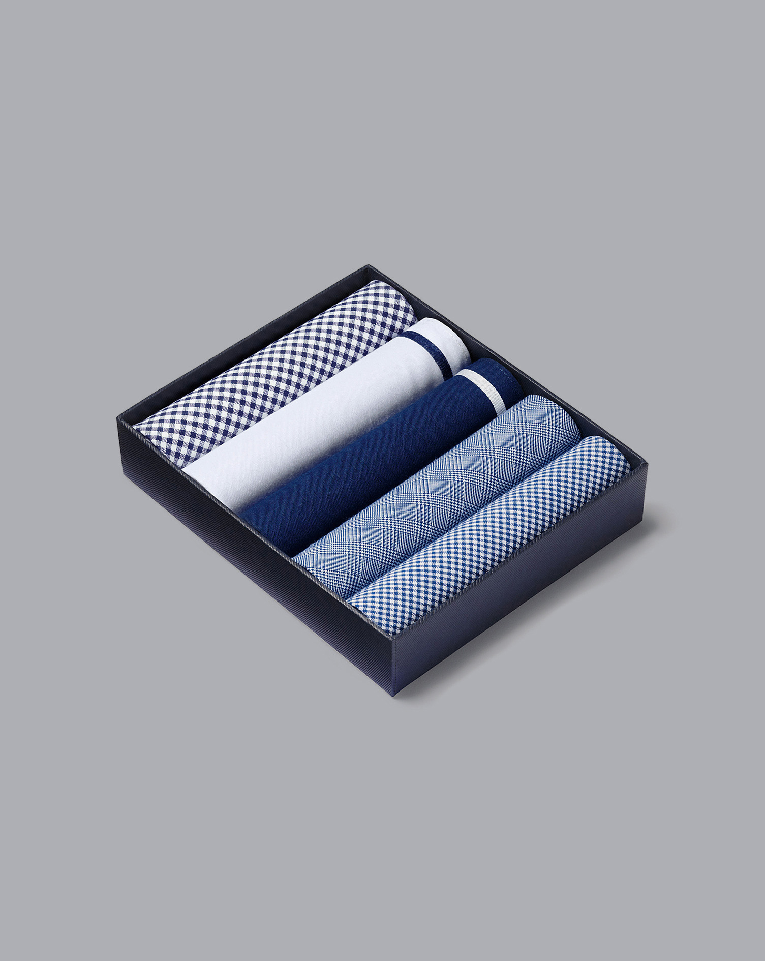 Blue Cotton Handkerchief Box Set by Charles Tyrwhitt