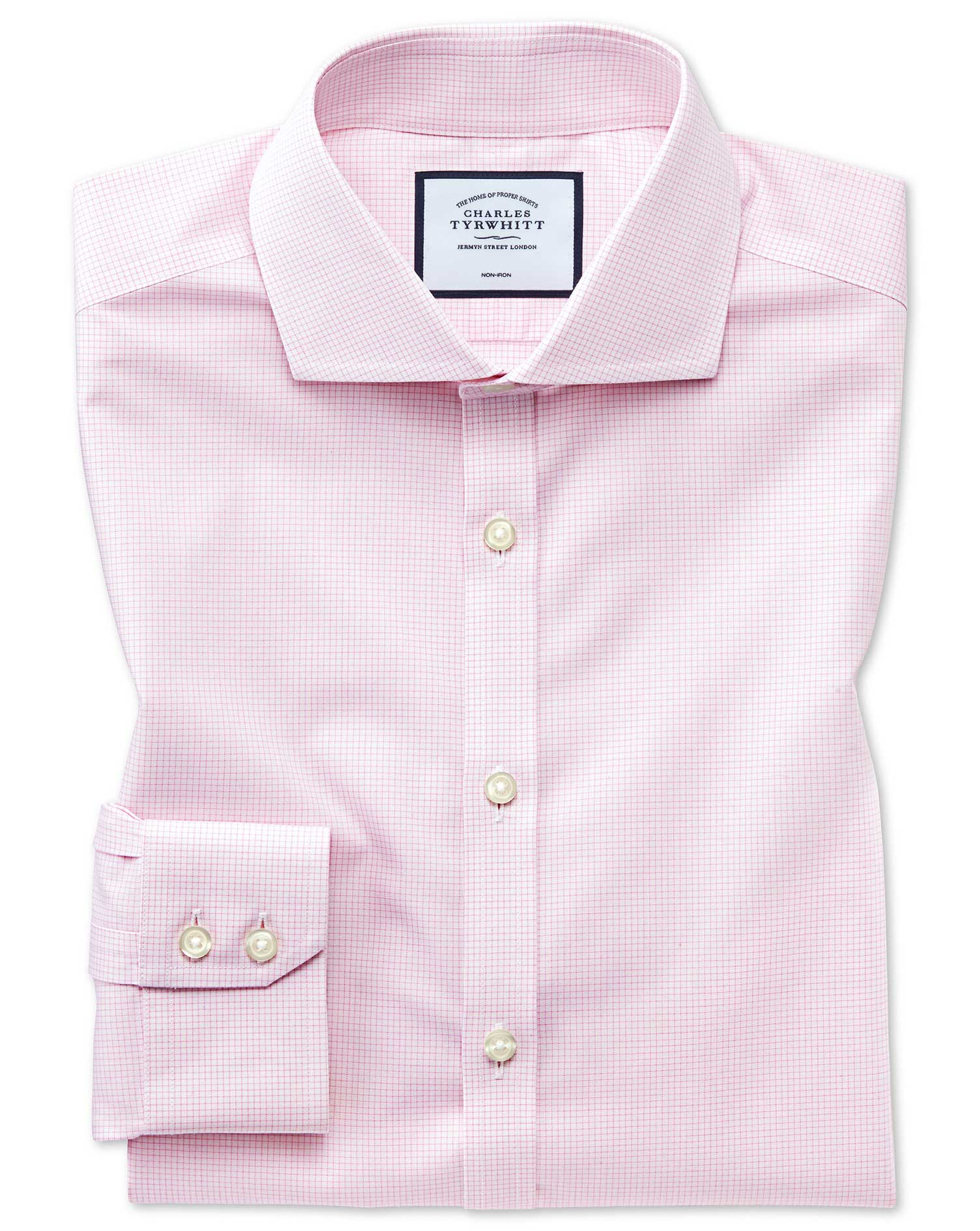 Extra Slim Fit Non-Iron 4-Way Stretch Pink Check Cotton Formal Shirt Single Cuff Size 17.5/35 by Cha