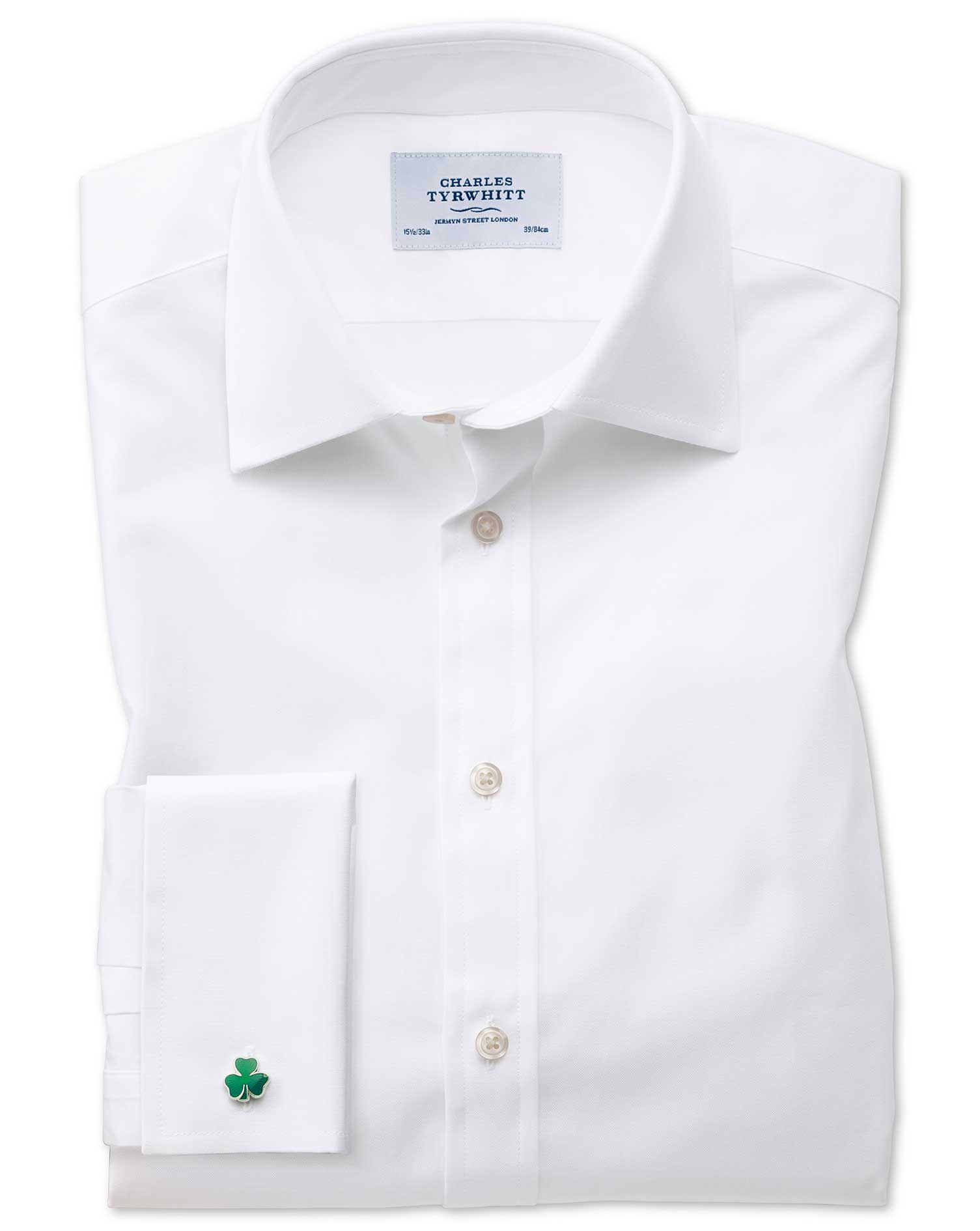 Classic Fit Oxford White Cotton Formal Shirt Double Cuff Size 16/38 by Charles Tyrwhitt