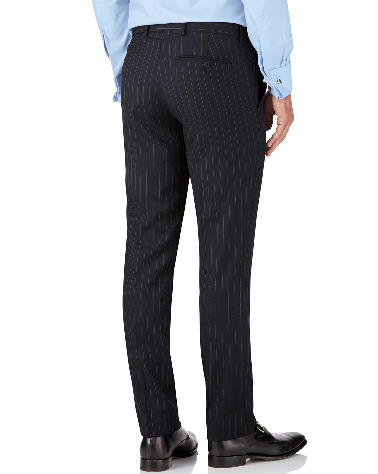 Pantalon de costume business bleu marine en twill slim fit à rayures
