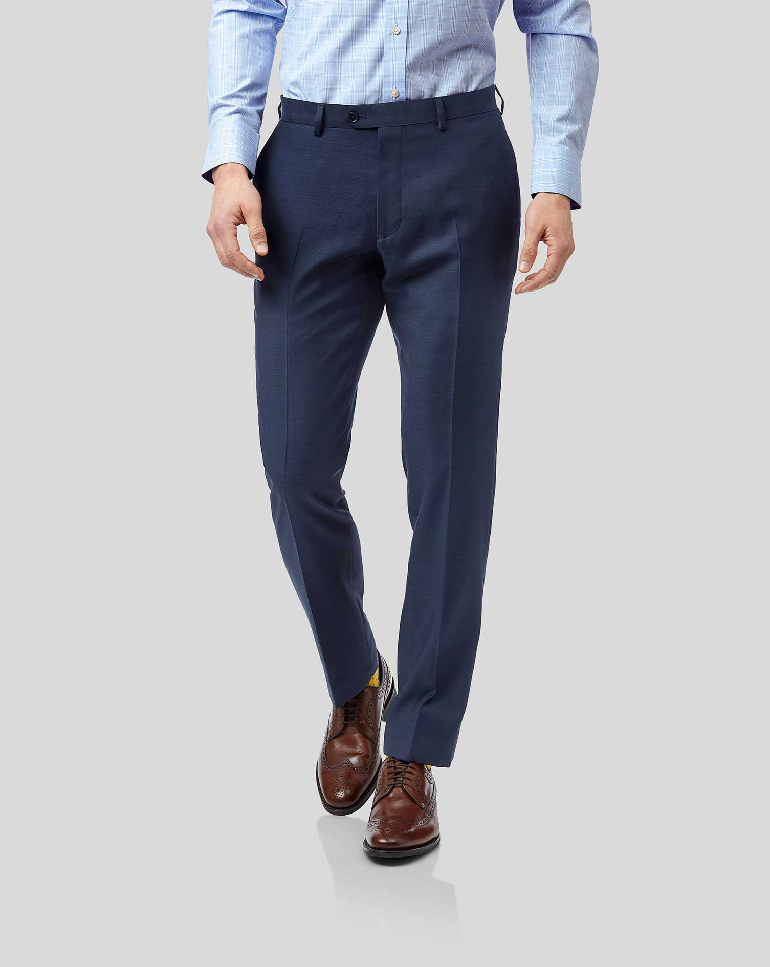 Wool Blue Slim Fit Twill Business Suit Trousers