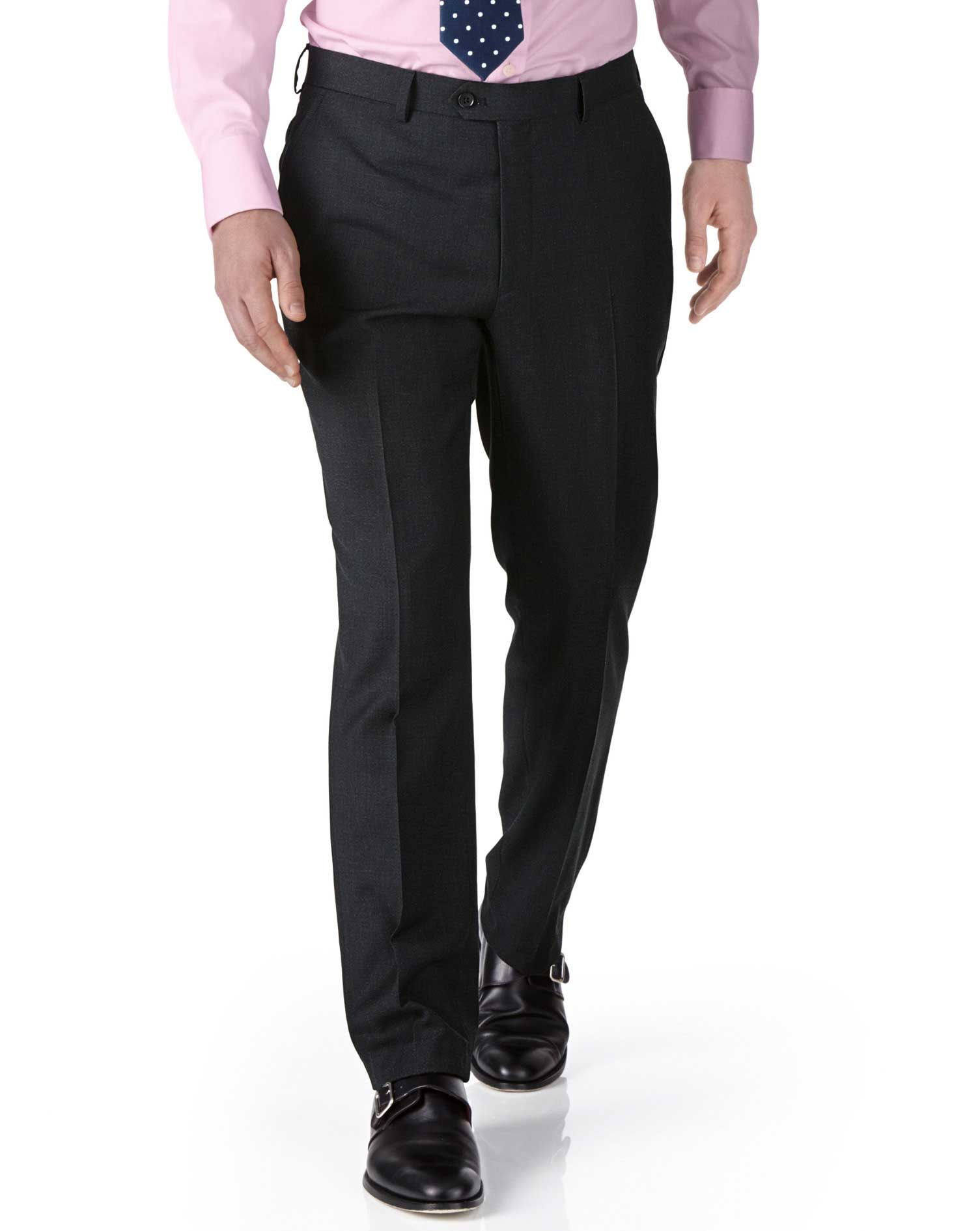 Pantalones de traje de oficina gris marengo de sarga y corte extraentallado