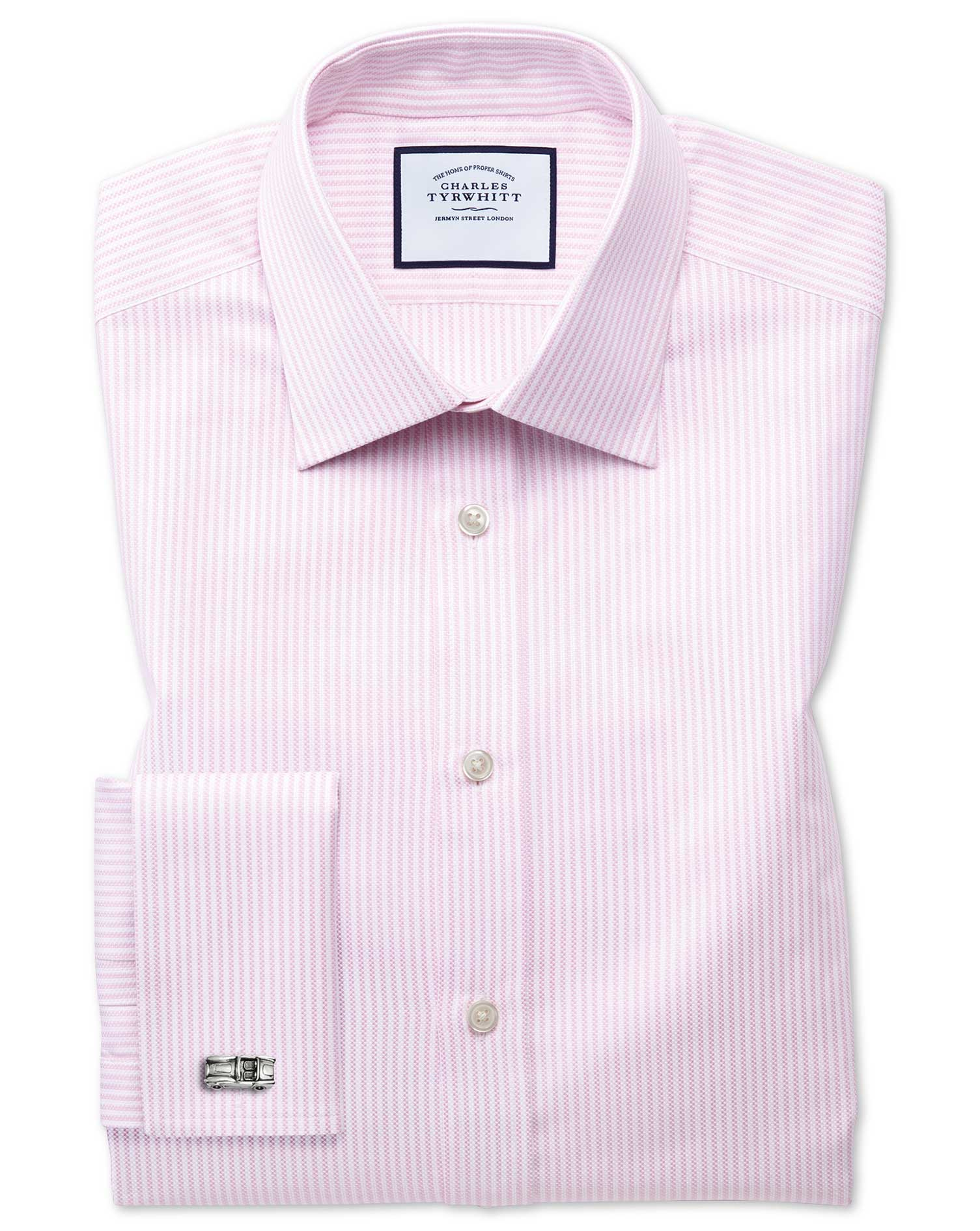 Extra Slim Fit Egyptian Cotton Royal Oxford Pink and White Stripe Formal Shirt Double Cuff Size 17.5