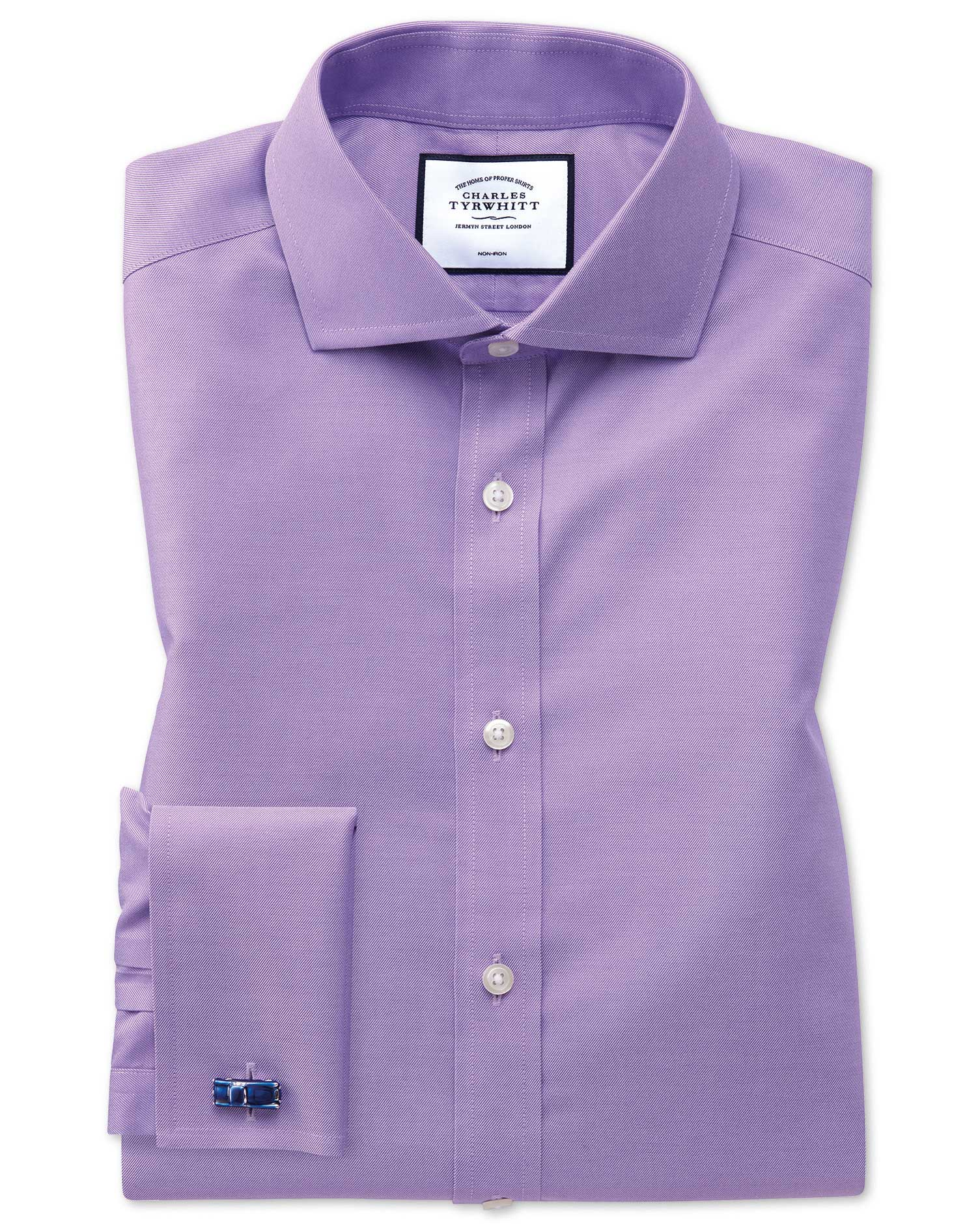 Slim Fit Non-Iron Cutaway Collar Lilac Twill Cotton Formal Shirt Double Cuff Size 15/33 by Charles T