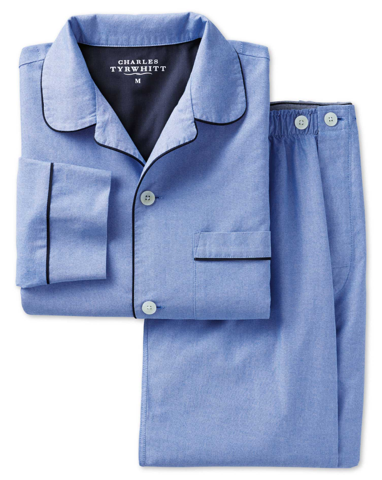 Sky Cotton Pyjama Set Size Large by Charles Tyrwhitt