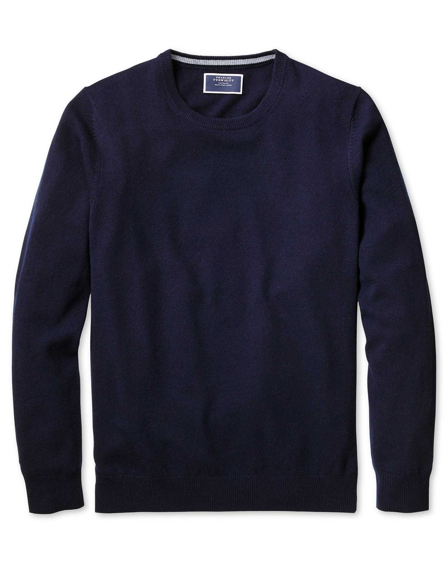 Navy Crew Neck Cashmere Jumper Size Large by Charles Tyrwhitt