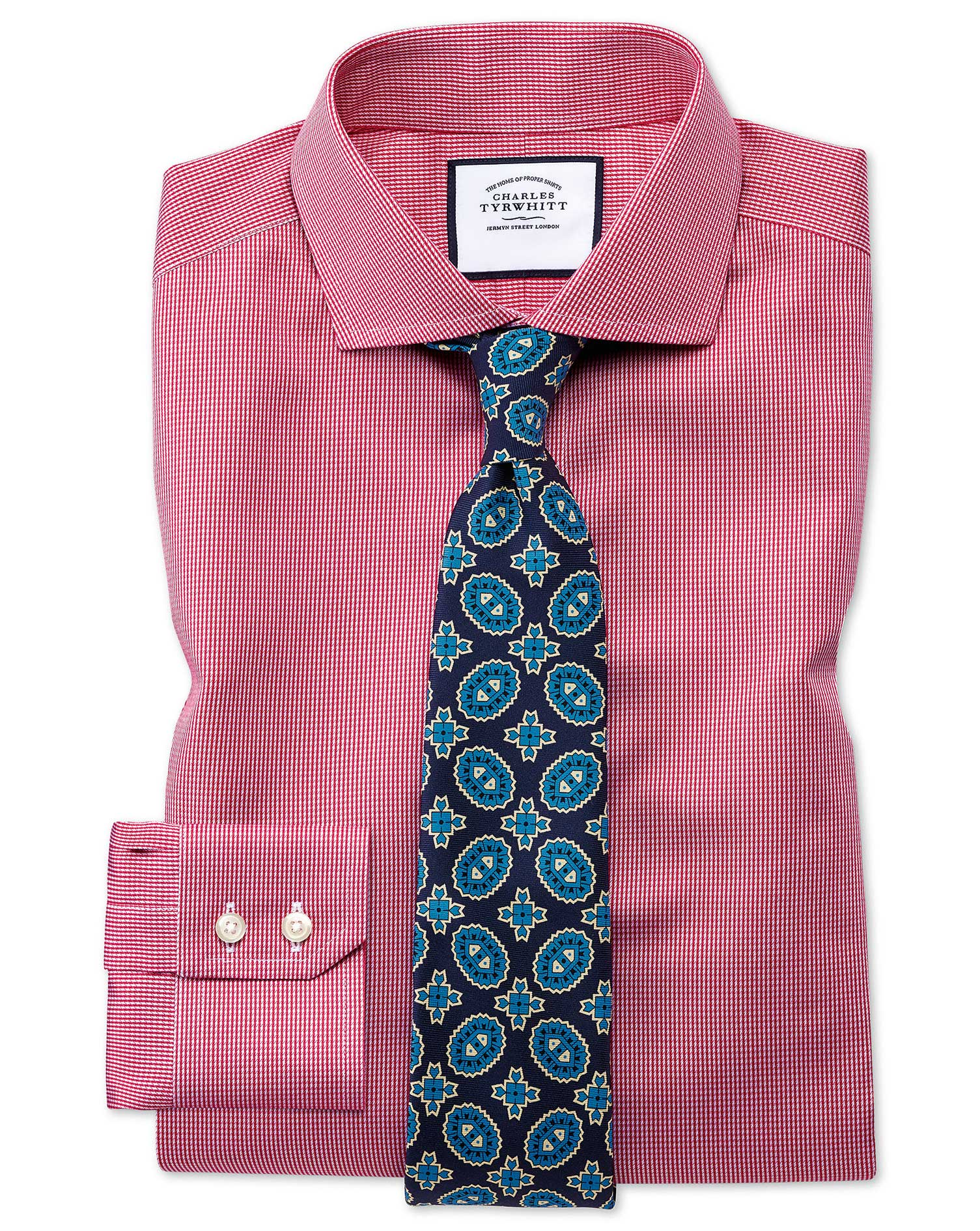 Extra Slim Fit Cutaway Collar Non-Iron Puppytooth Bright Pink Cotton Formal Shirt Double Cuff Size 1