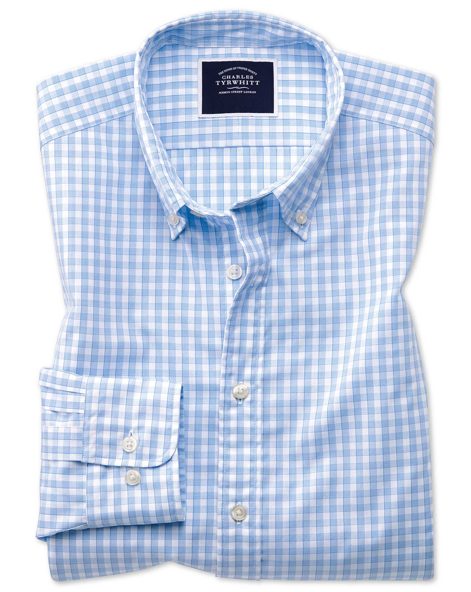 Cotton Extra Slim Fit Sky Blue Gingham Soft Washed Non-Iron Tyrwhitt Cool Shirt