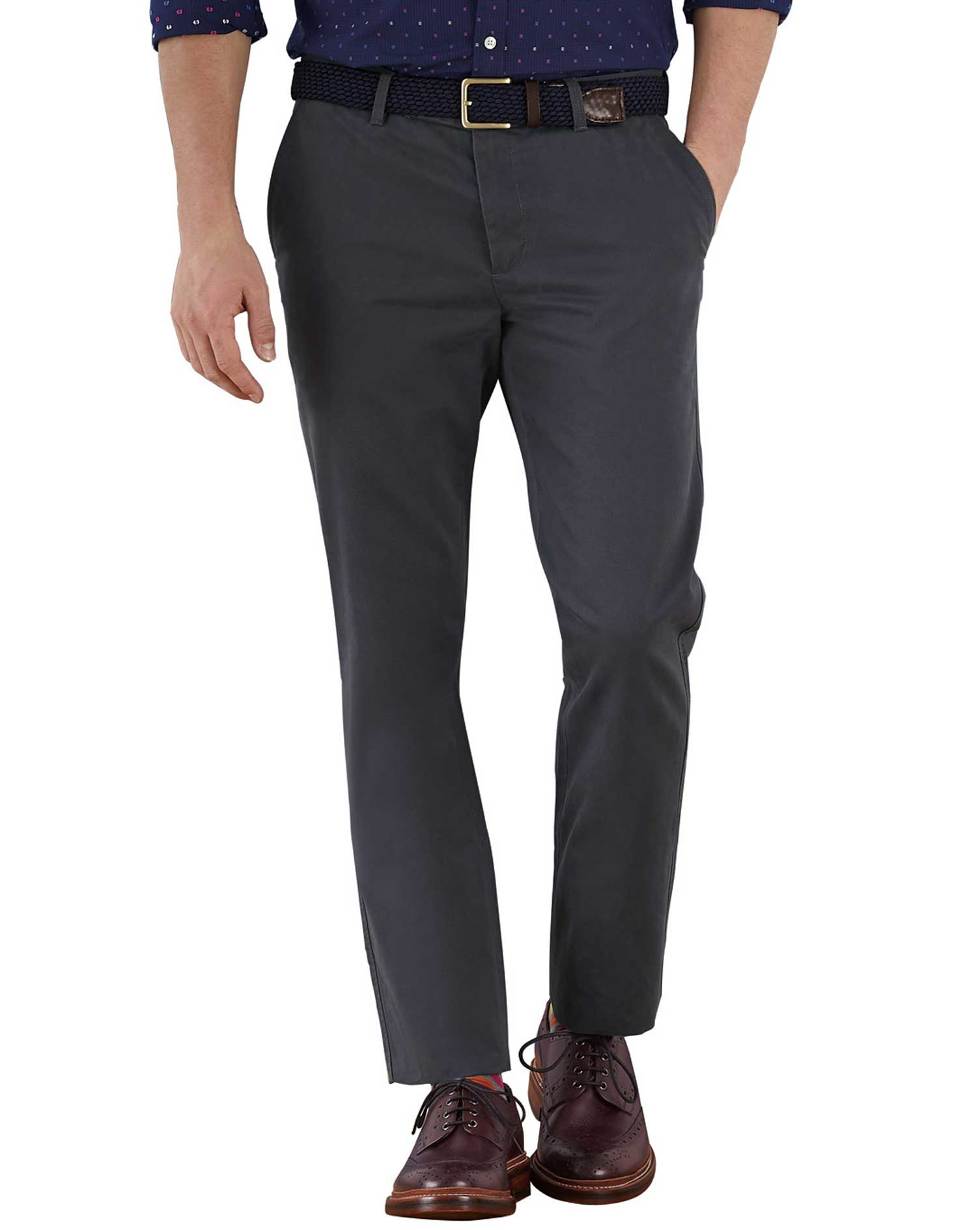 Charcoal Extra Slim Fit Flat Front Cotton Chino Trousers Size W34 L29 by Charles Tyrwhitt