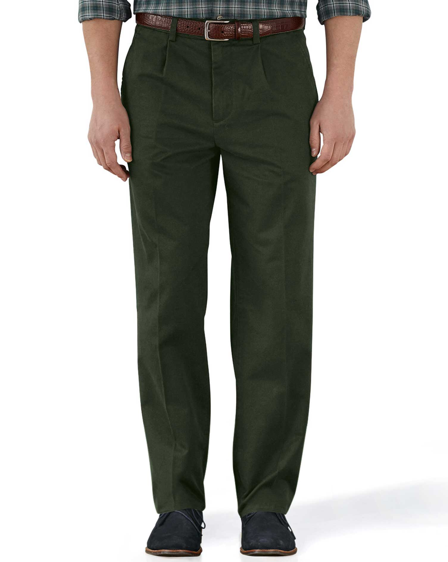 Dark Green Classic Fit Single Pleat Weekend Cotton Chino Trousers Size W36 L34 by Charles Tyrwhitt