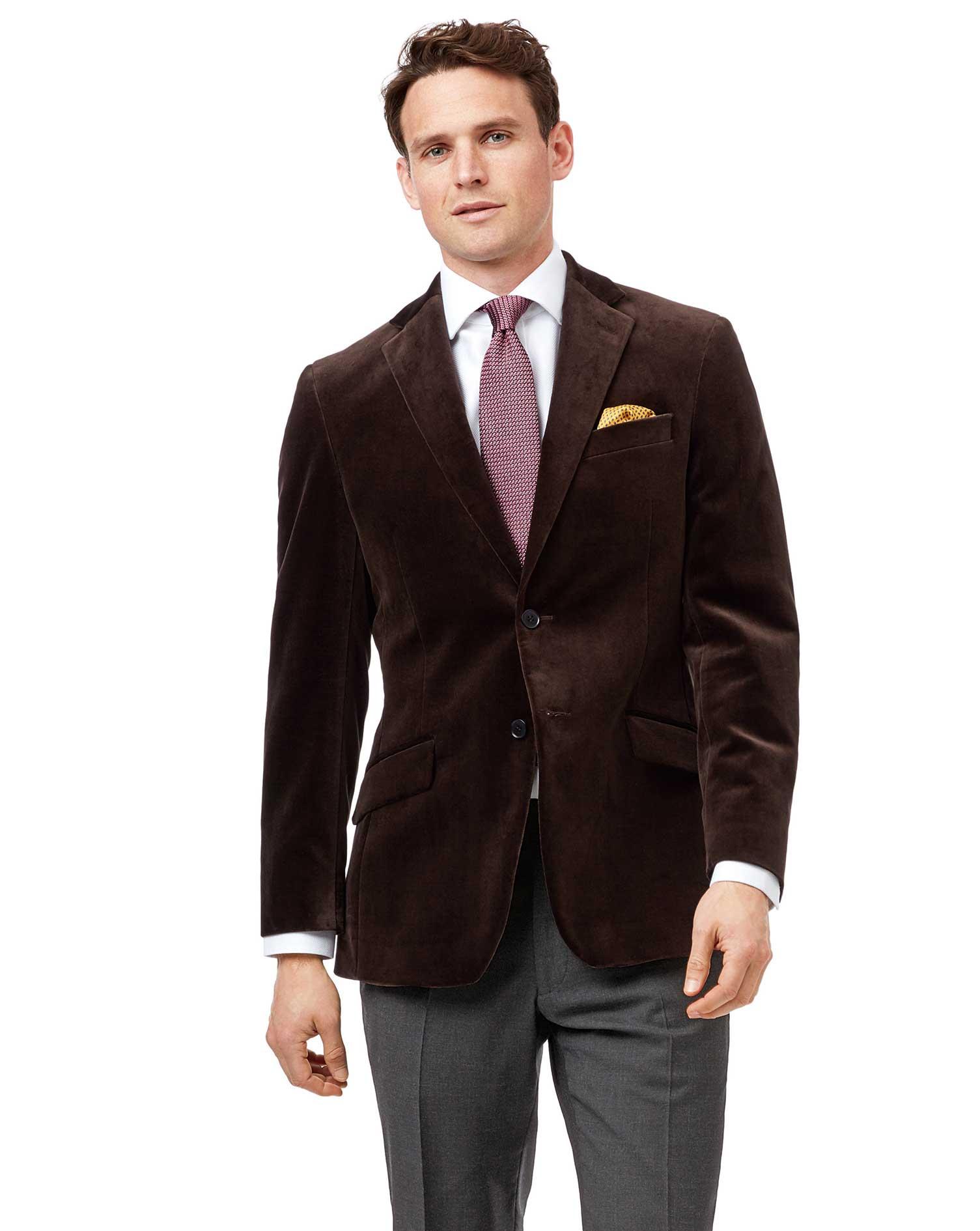 Cotton Slim Fit Brown Velvet Jacket