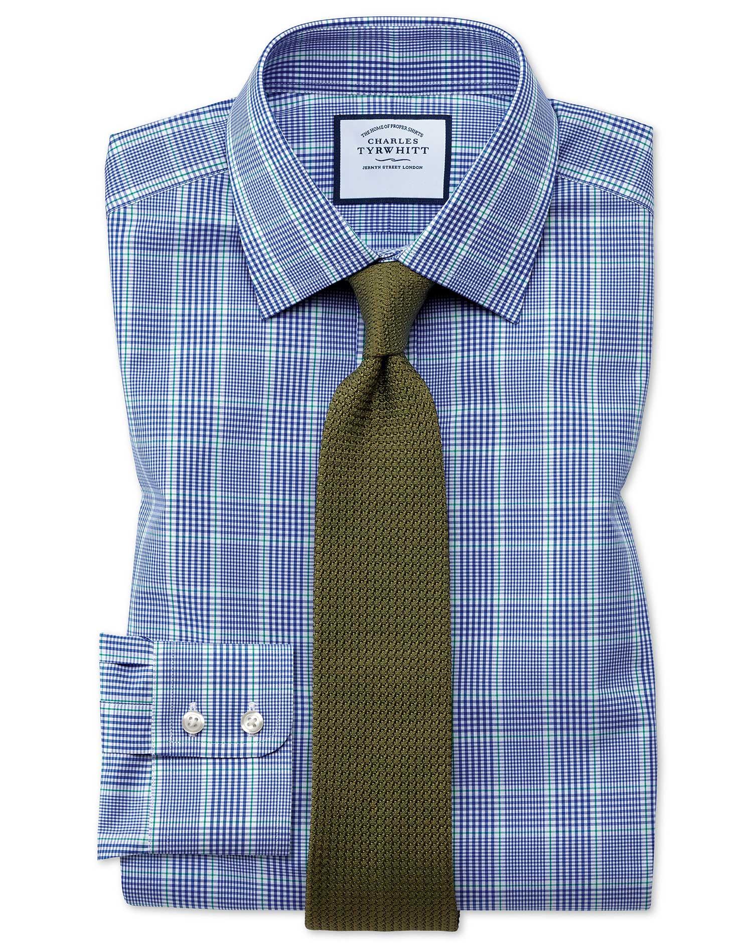 Chemise Prince De Galles Bleue Et Verte Coupe Droite - Bleu/Vert - 15.5 / 32