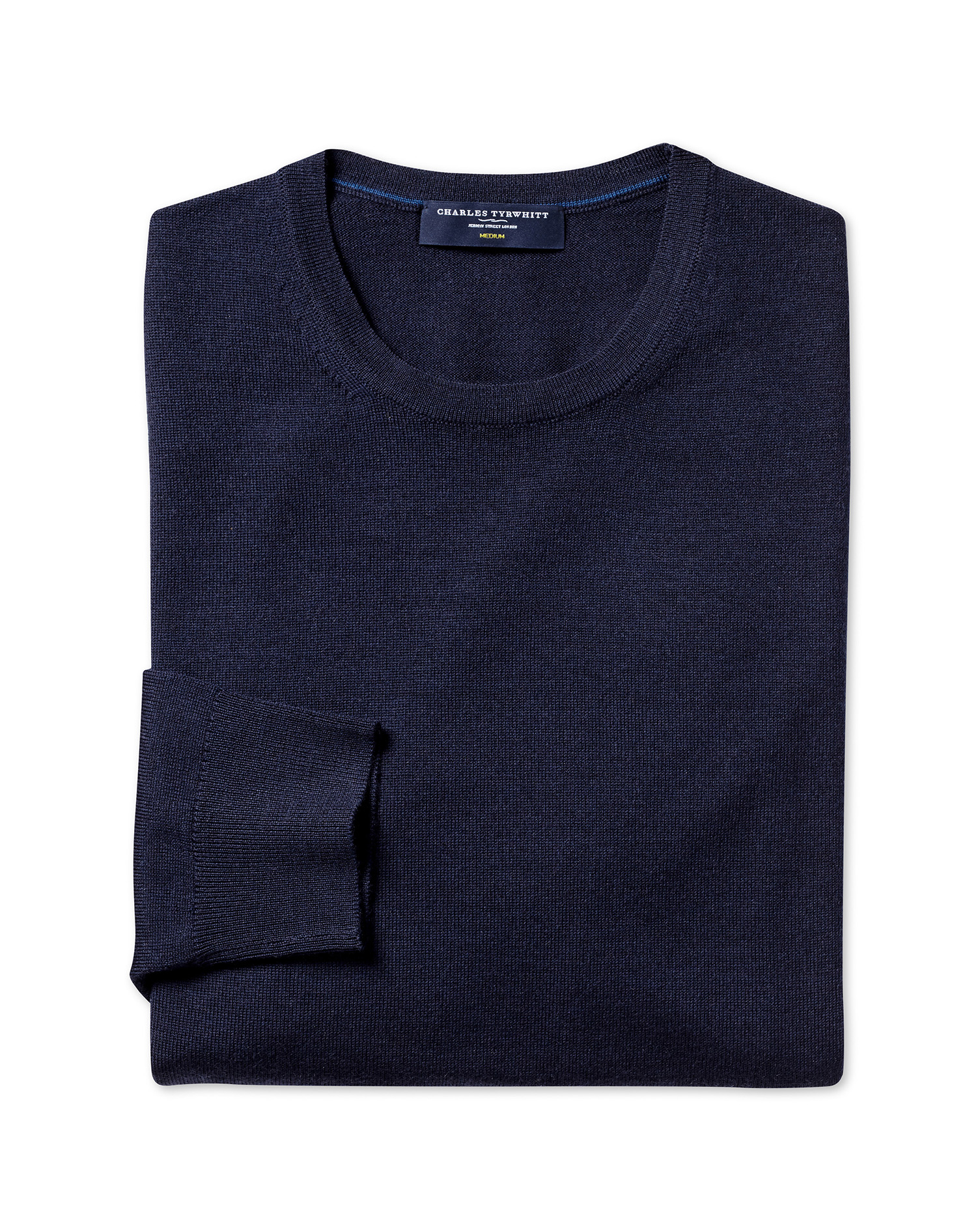 Navy Merino Wool Crew Neck Jumper Size Large by Charles Tyrwhitt