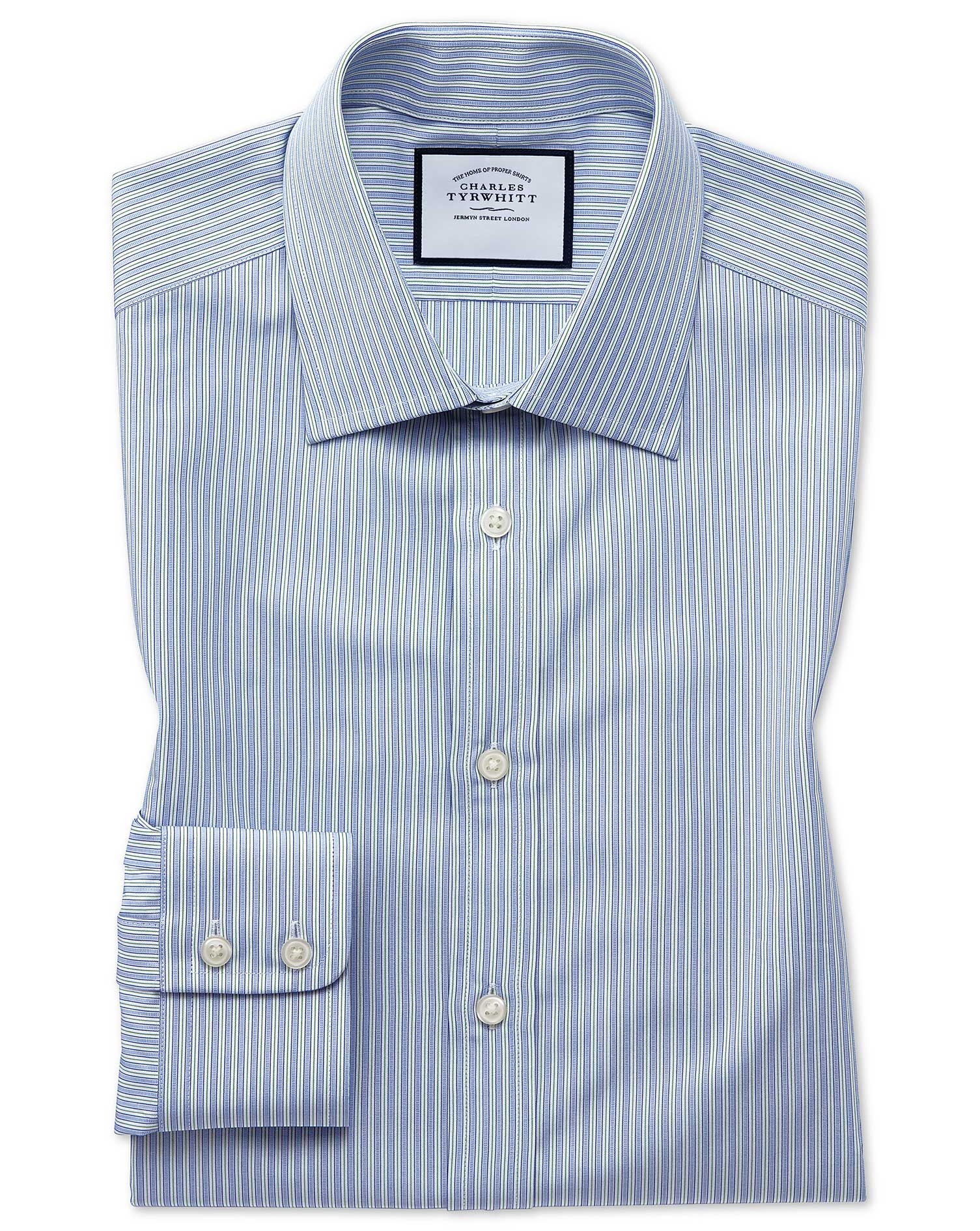 Classic Fit Egyptian Cotton Poplin Blue and Green Fine Stripe Formal Shirt Single Cuff Size 16/36 by