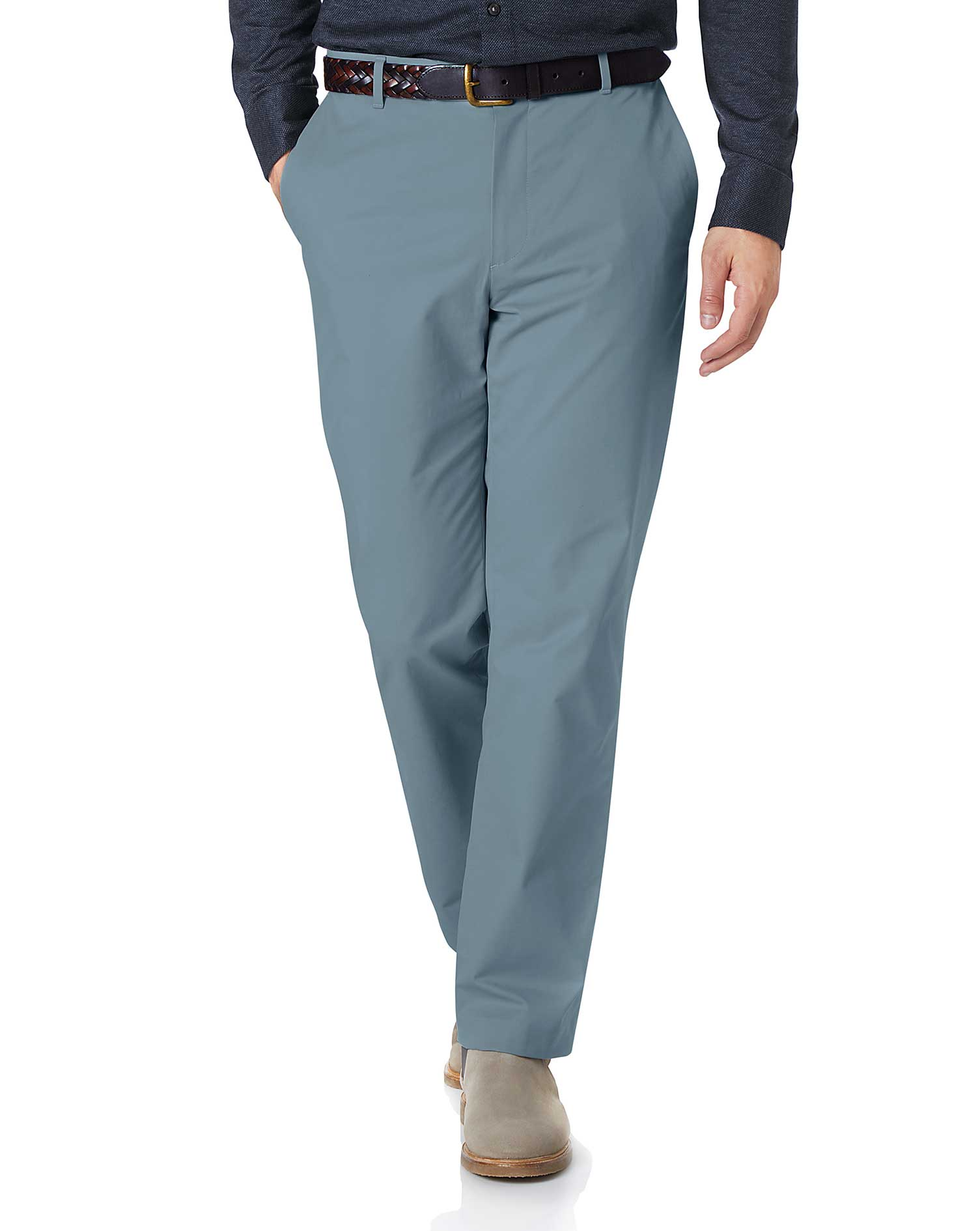 Sky Blue Classic Fit Stretch Cotton Chino Trousers Size W40 L34 by Charles Tyrwhitt