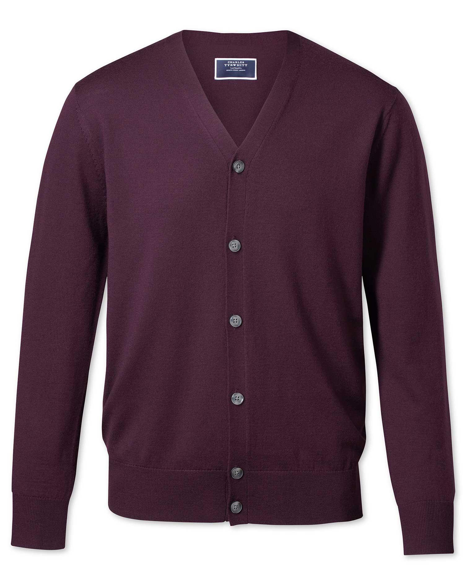 Wine Merino Wool Cardigan Size XL by Charles Tyrwhitt