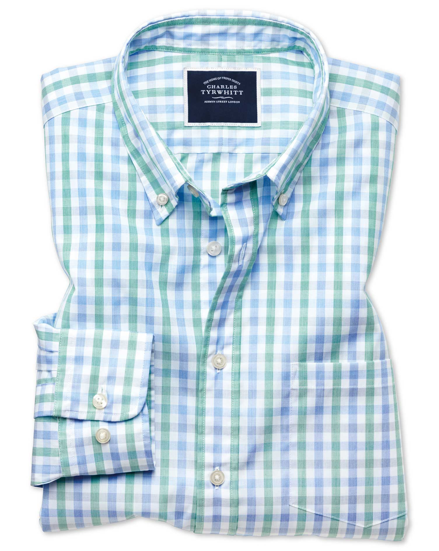 Cotton Slim Fit Green And Blue Gingham Soft Washed Non-Iron Tyrwhitt Cool Shirt