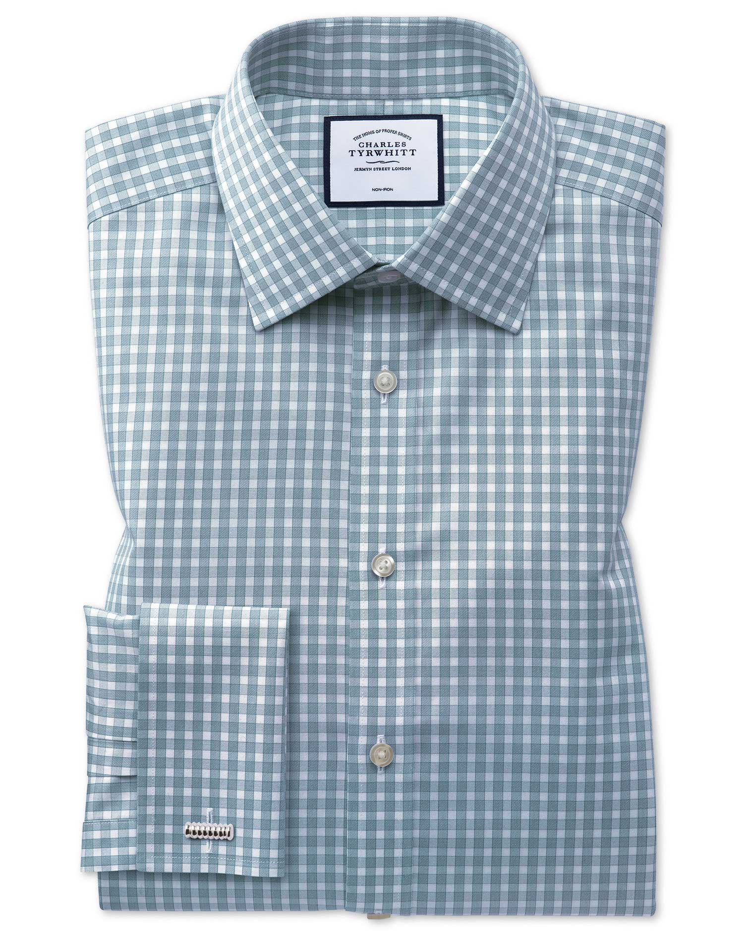 Classic Fit Non-Iron Twill Gingham Teal Cotton Formal Shirt Double Cuff Size 18/36 by Charles Tyrwhi