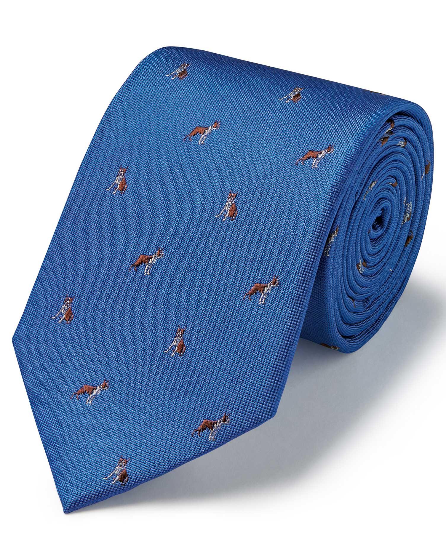 Royal Blue Silk Motif Jacquard French Bulldog Classic Tie