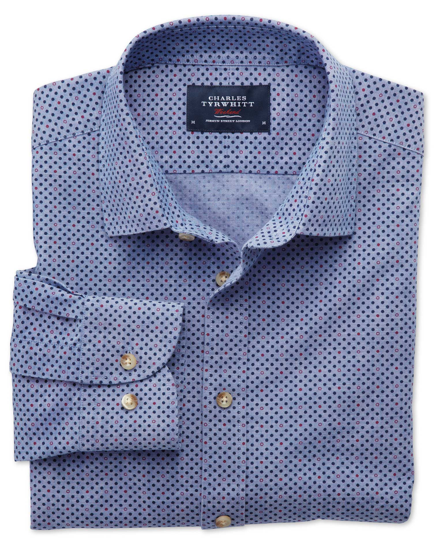 Extra Slim Fit Blue And Purple Spot Print Shirt Charles