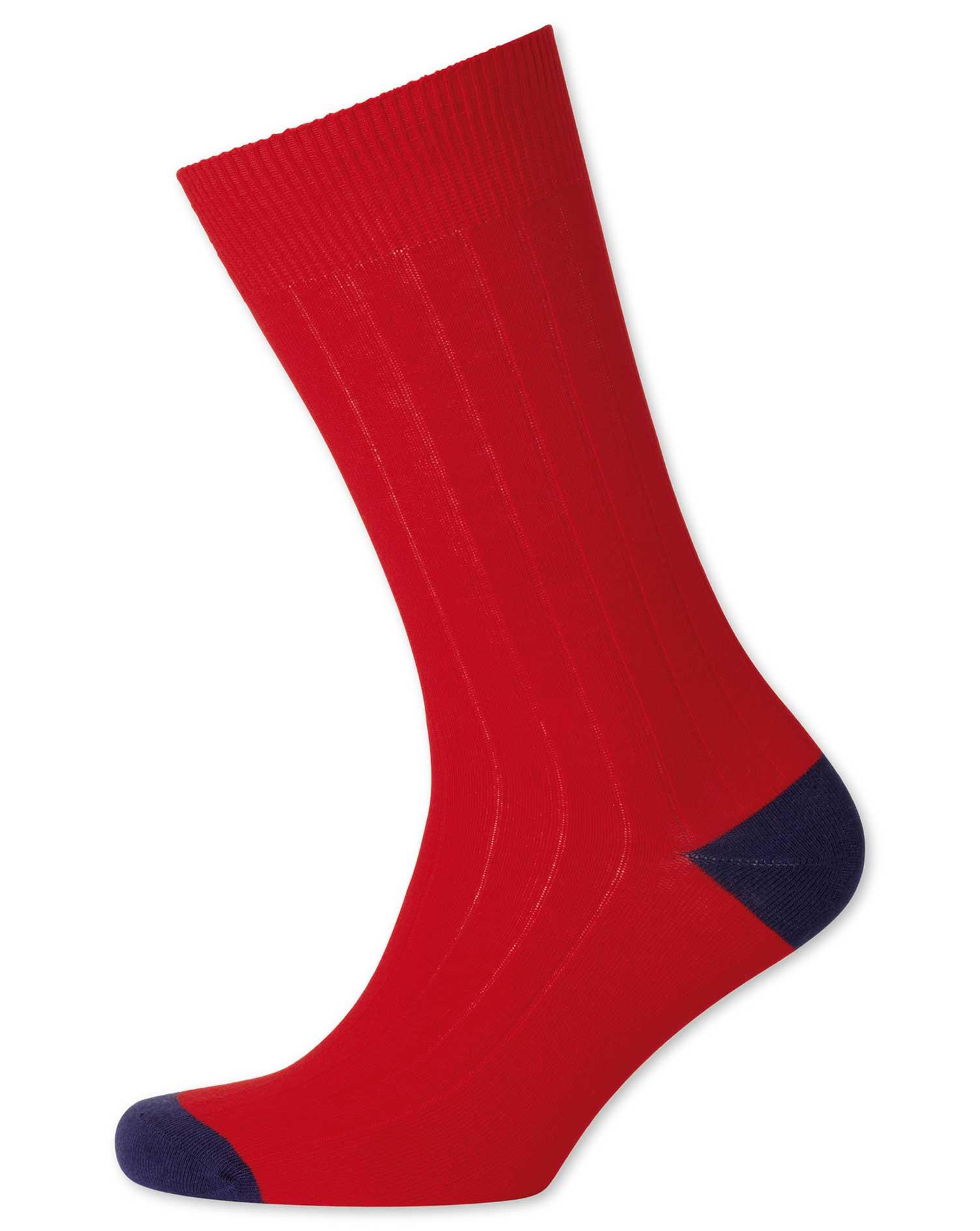 Red Cotton Rib Socks Size Medium by Charles Tyrwhitt