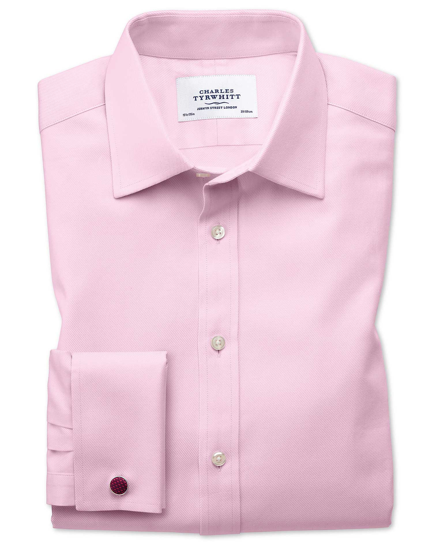 Slim Fit Egyptian Cotton Cavalry Twill Light Pink Formal Shirt Double Cuff Size 17.5/34 by Charles T