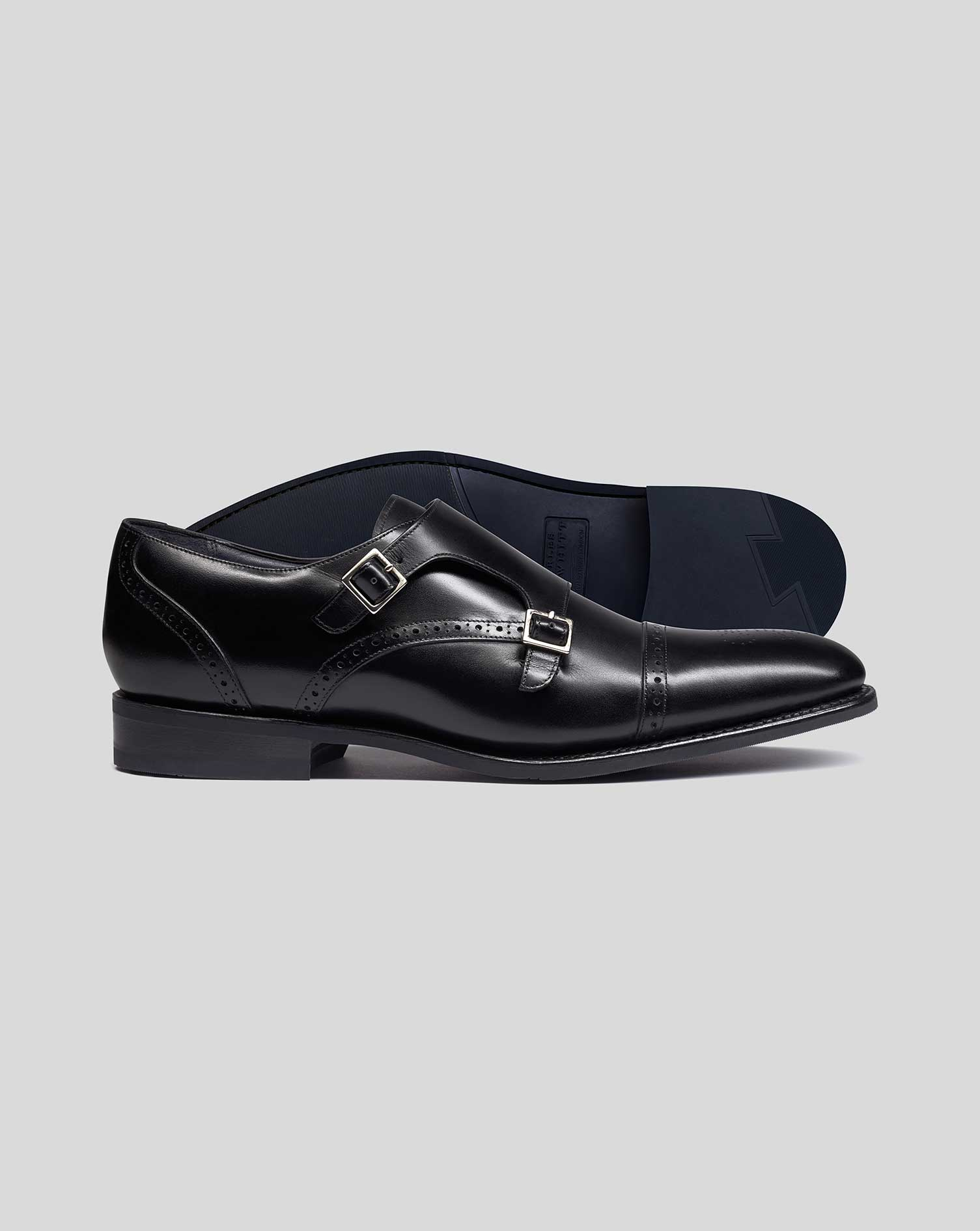 Leather Black Goodyear Welted Double Buckle Monk Performance Shoes