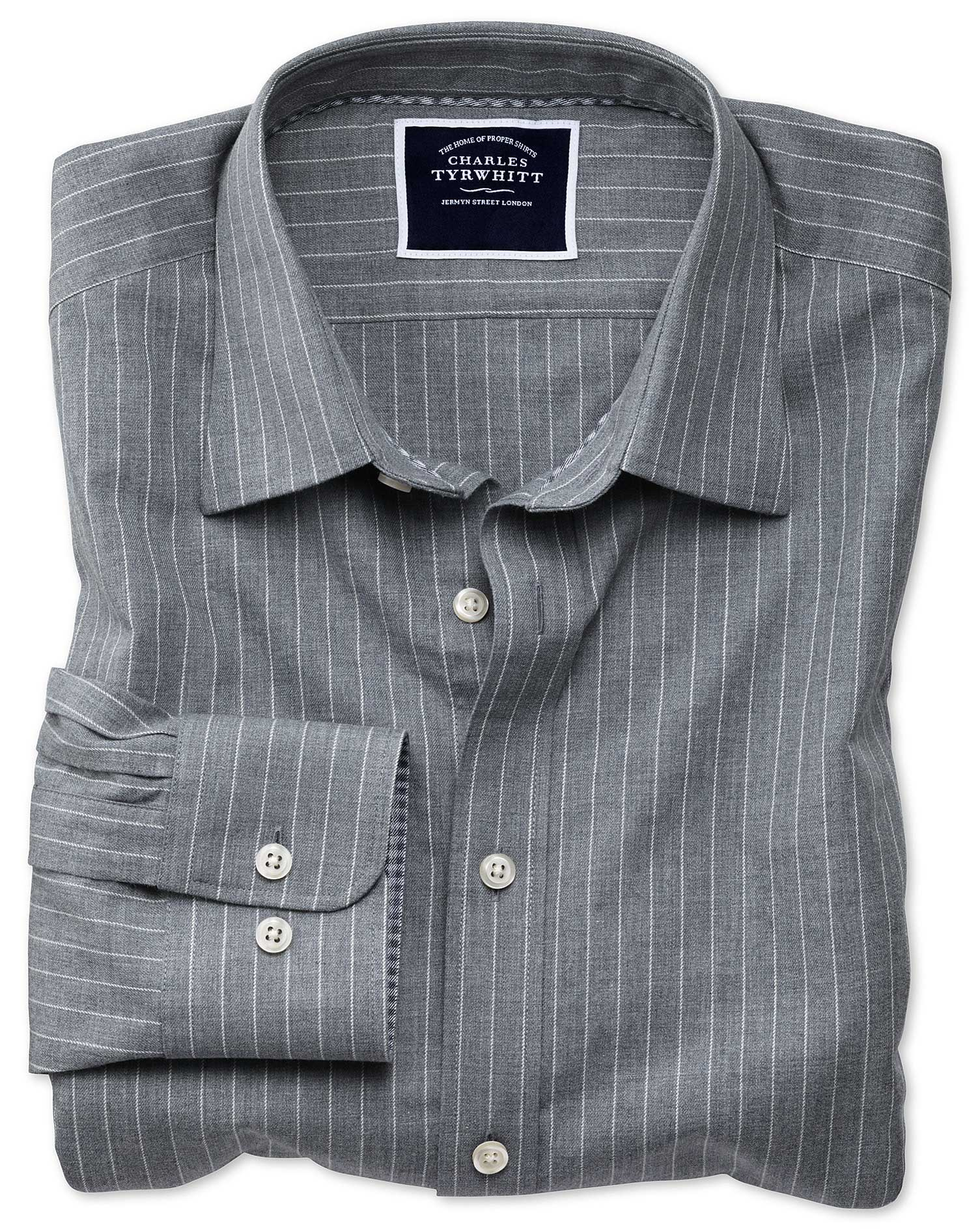 c60d001e99 ... Classic fit grey stripe soft textured shirt. Previous. Clearance