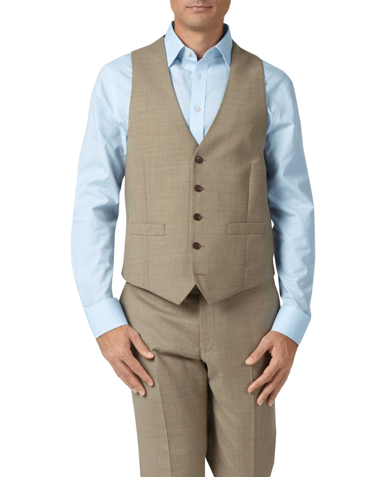 Fawn Adjustable Fit Twill Business Suit Wool Waistcoat Size w44 by Charles Tyrwhitt