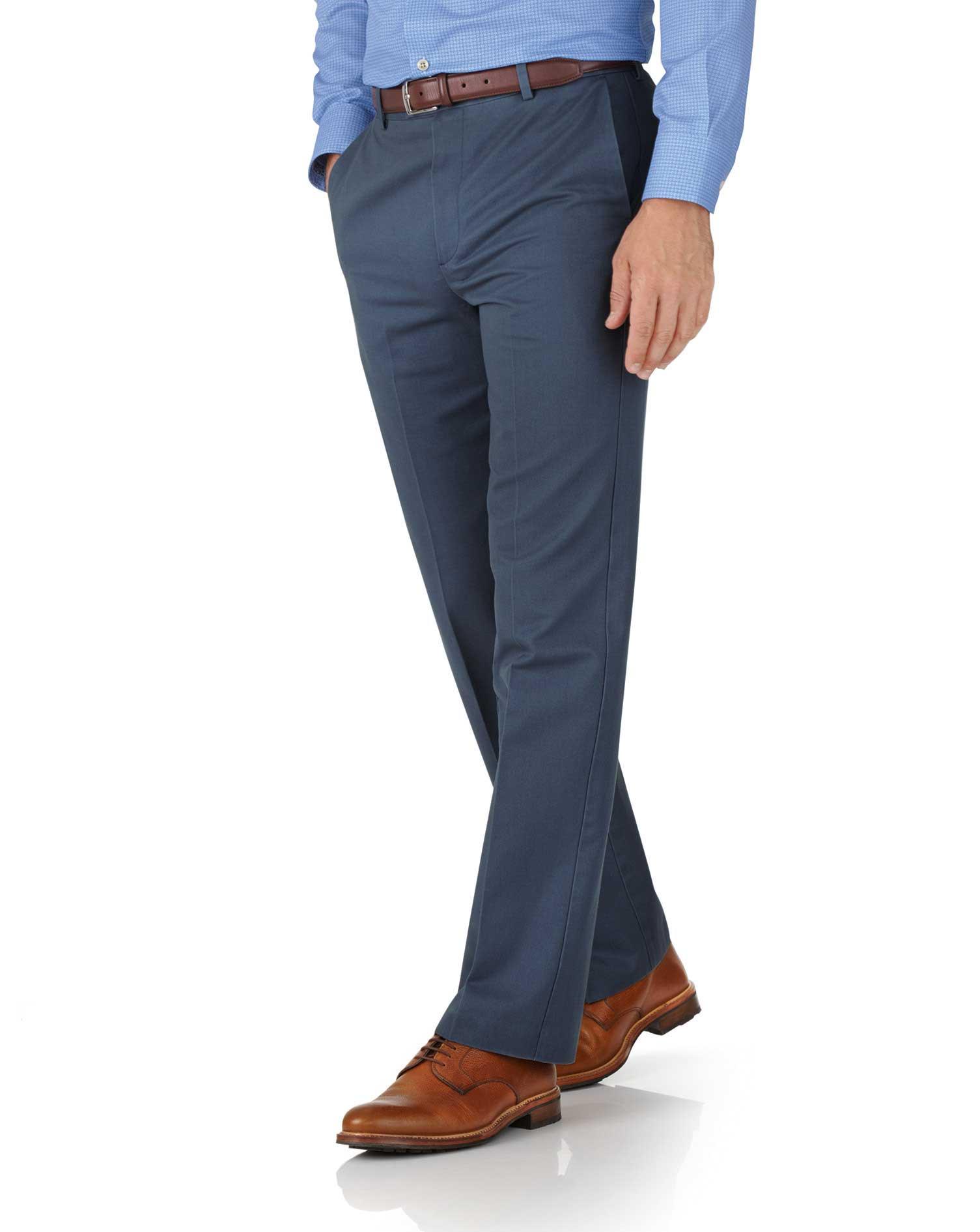 Airforce Blue Classic Fit Flat Front Non-Iron Cotton Chino Trousers Size W38 L34 by Charles Tyrwhitt